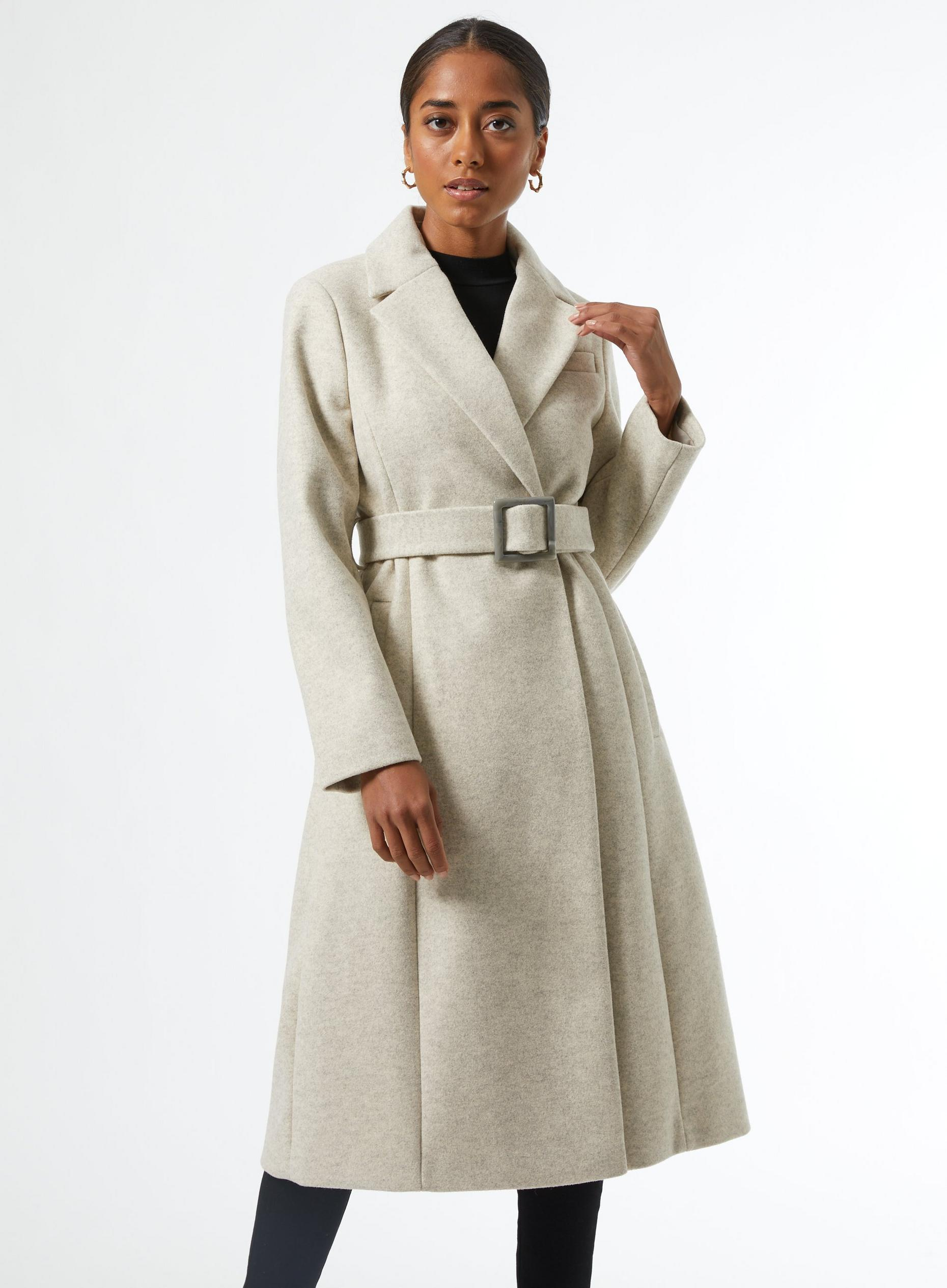 DP Petite Ivory Belted Wrap Coat