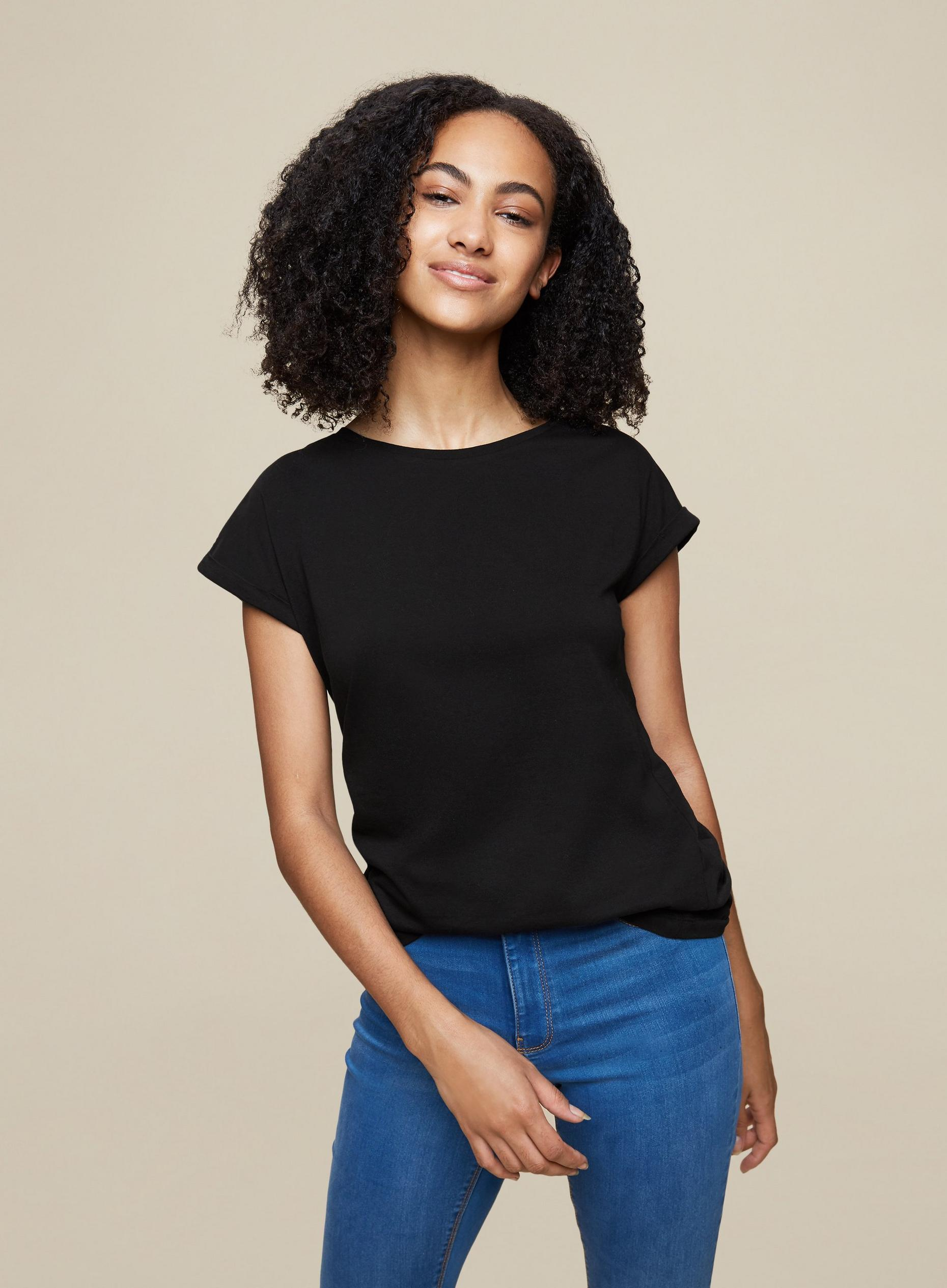 Tall Black Roll Sleeve T-Shirt