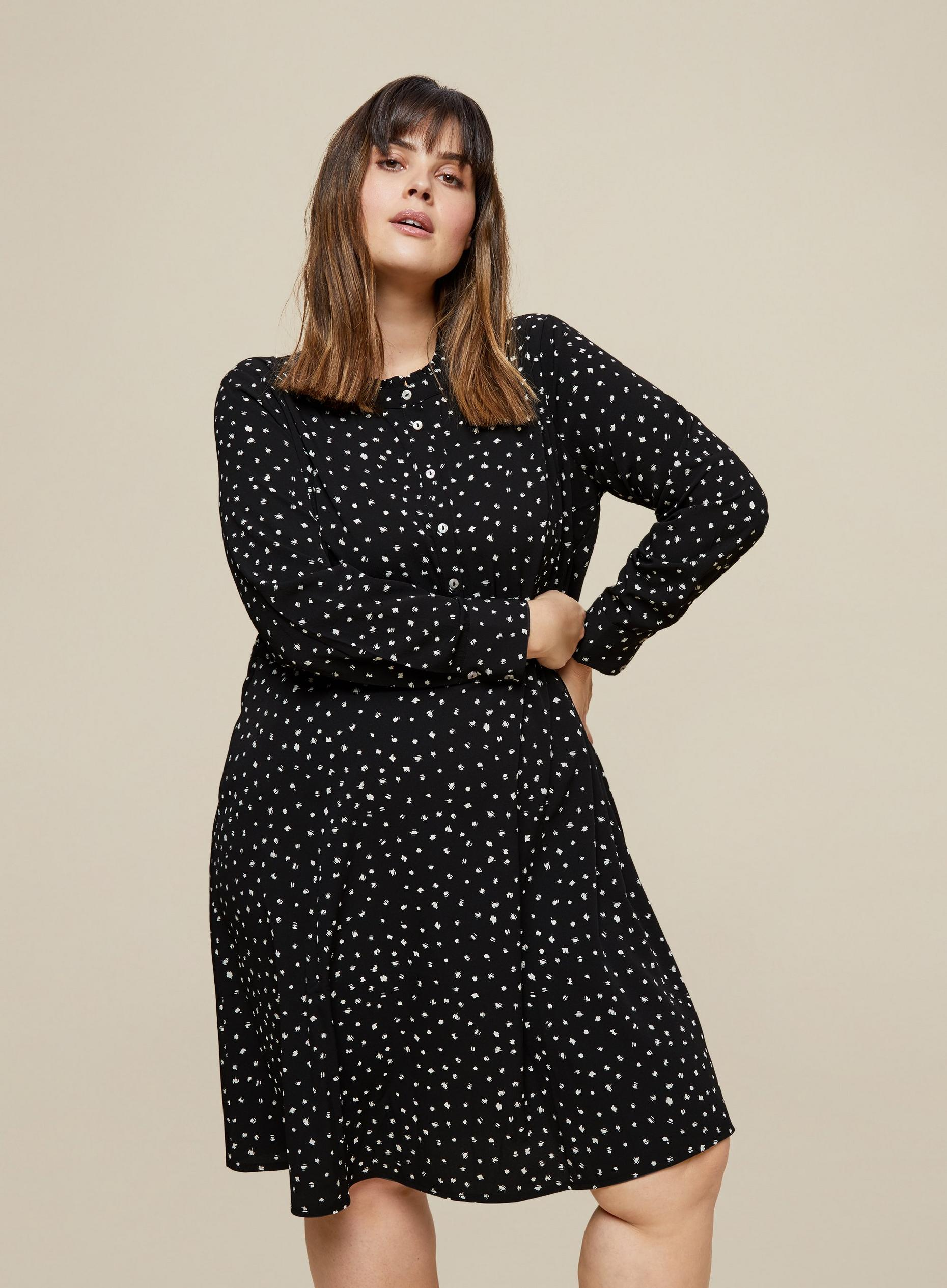 Curve Woven Print Shirt Dress