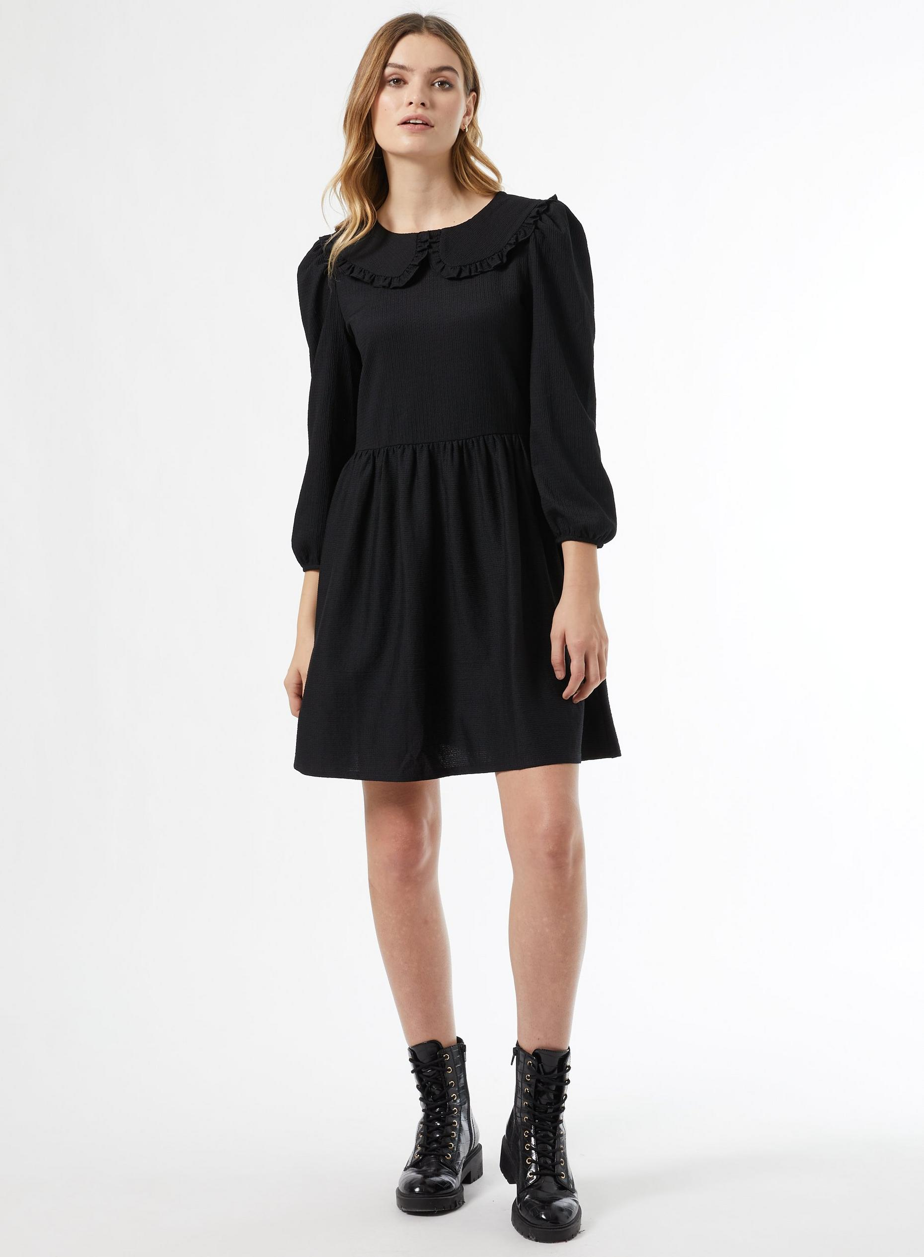 Black Collar Fit and Flare Dress
