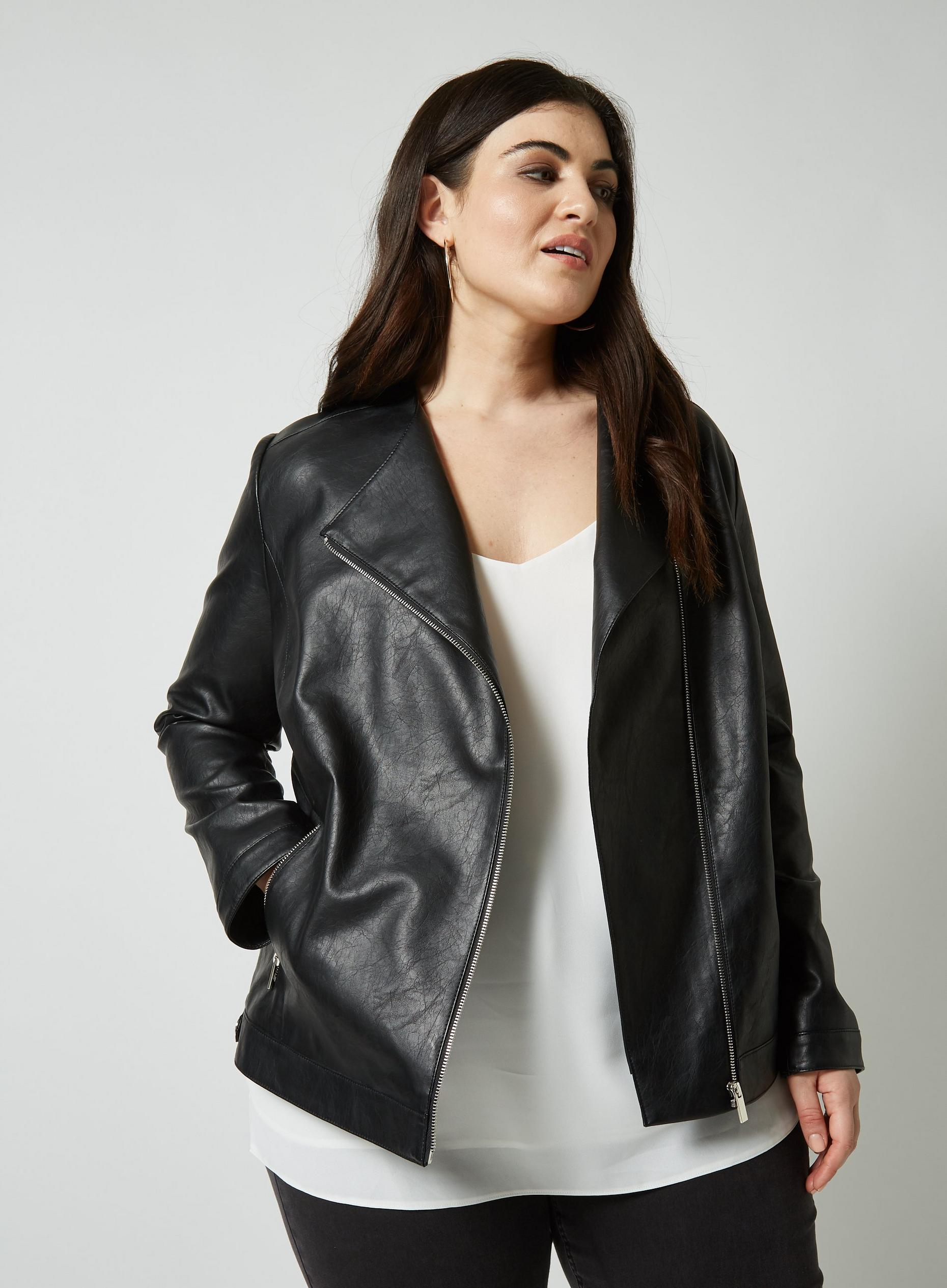 Curve Black PU Collarless Jacket