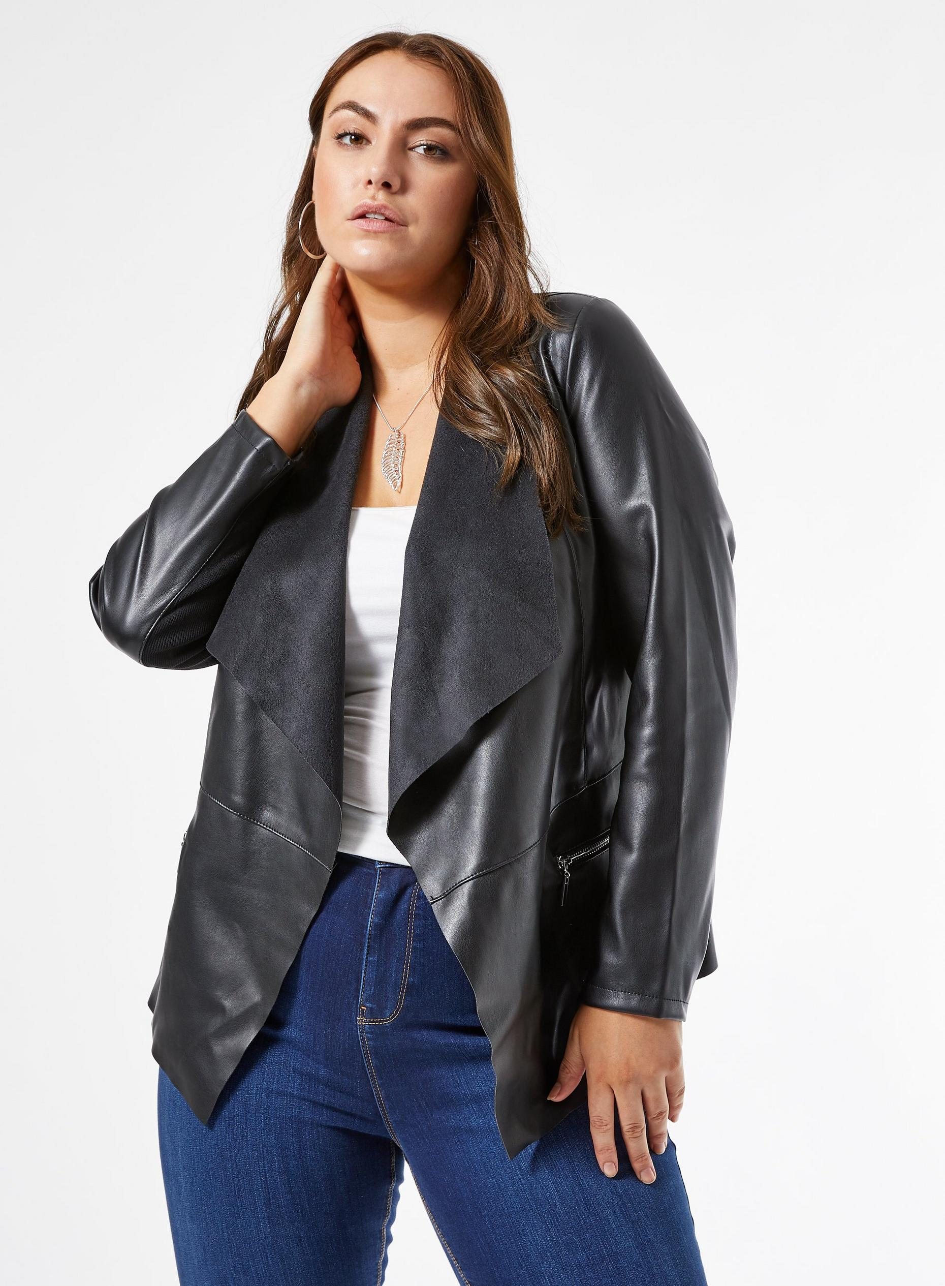 Curve Black Faux Leather Waterfall Jacket