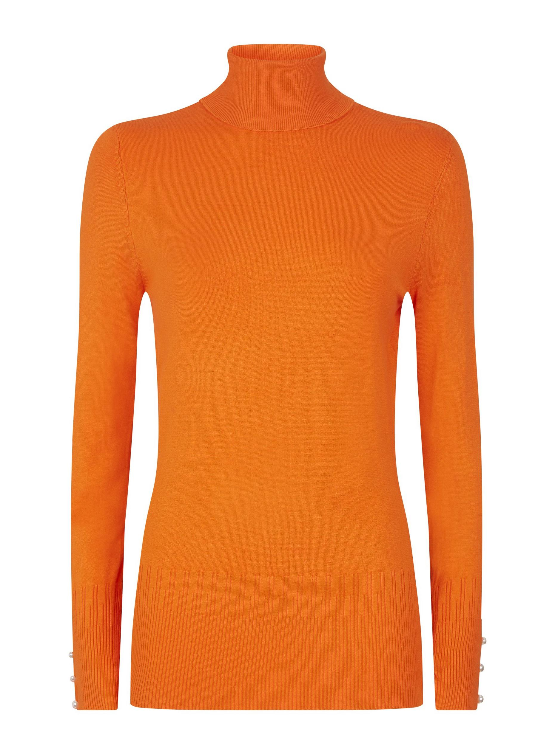 Tall Orange Button Roll Neck