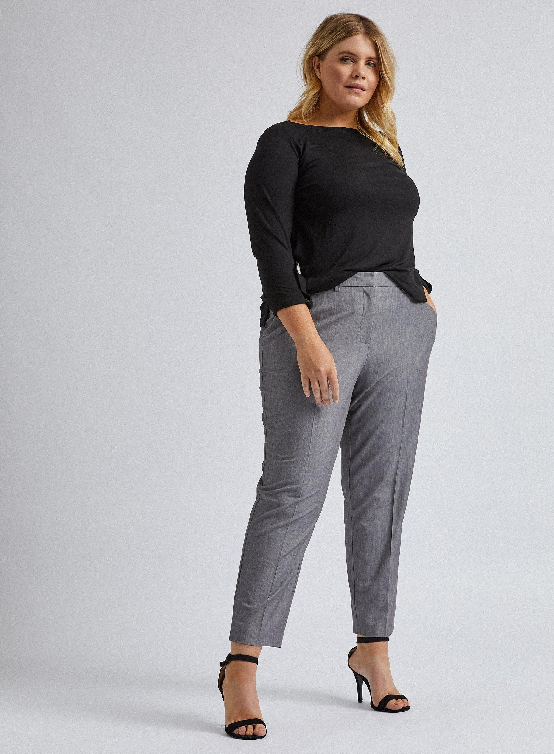 Curve Grey Elastane Ankle Grazer Trousers