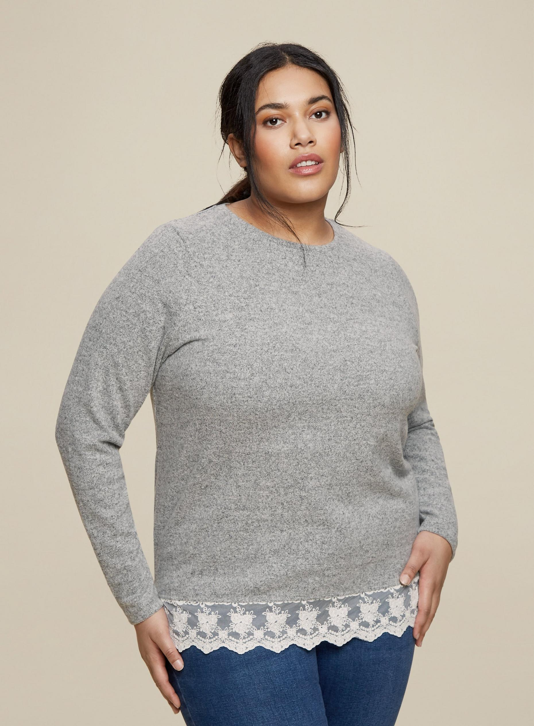 Curve Grey Marl Lace Hem Top