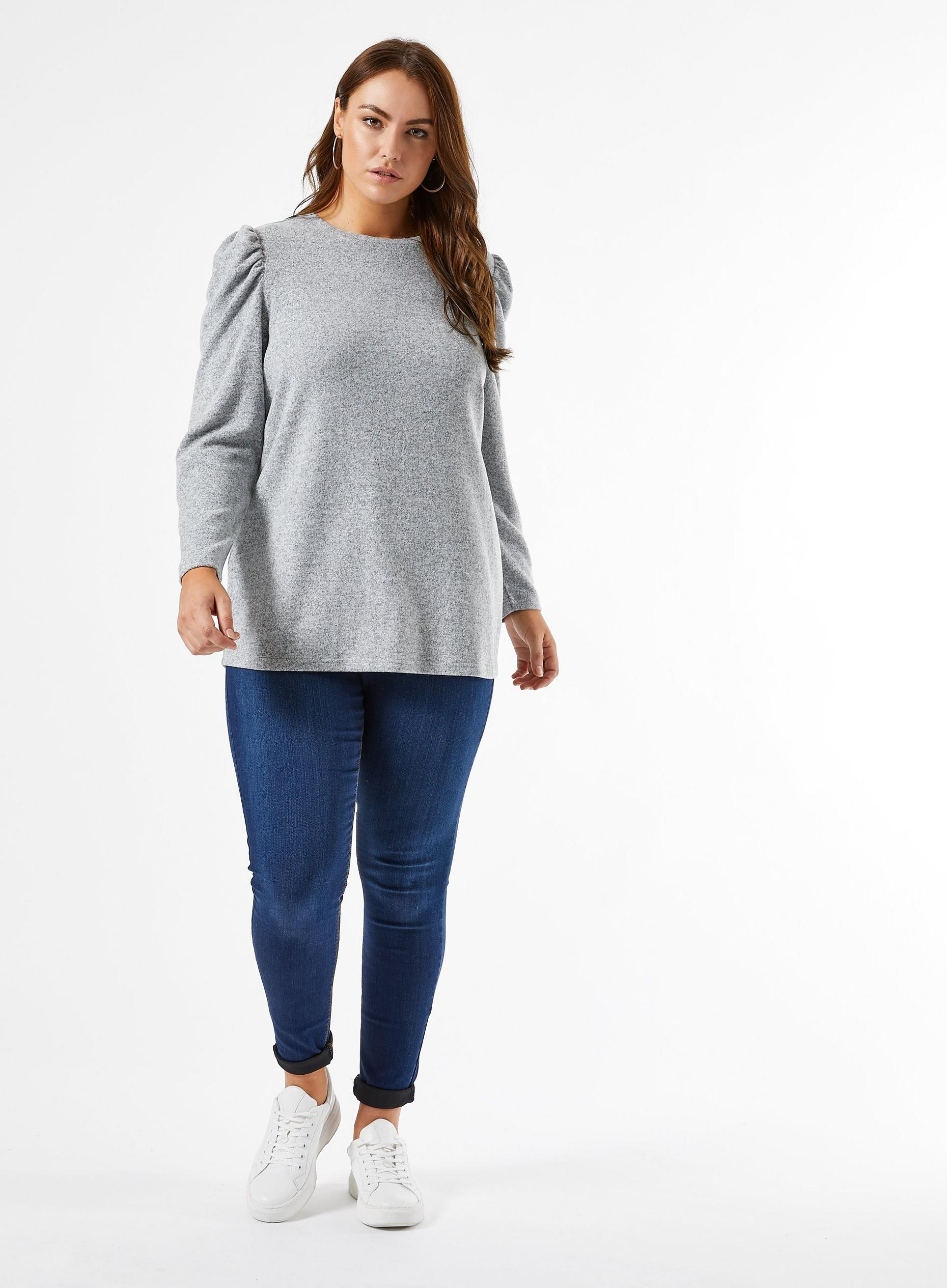 Curve Grey Brushed Puff Sleeve T-Shirt