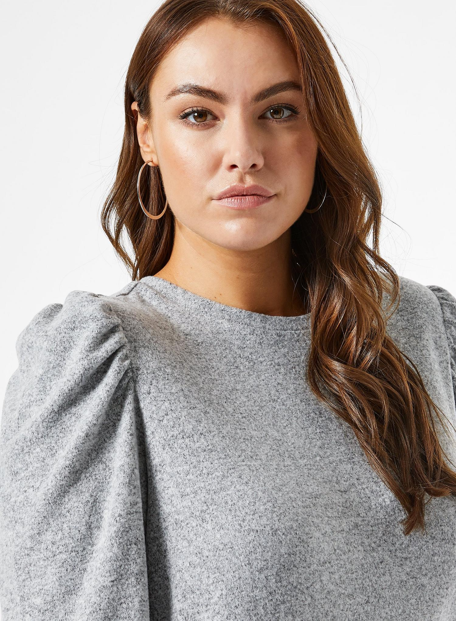 131 Curve Grey Brushed Puff Sleeve T-Shirt image number 3