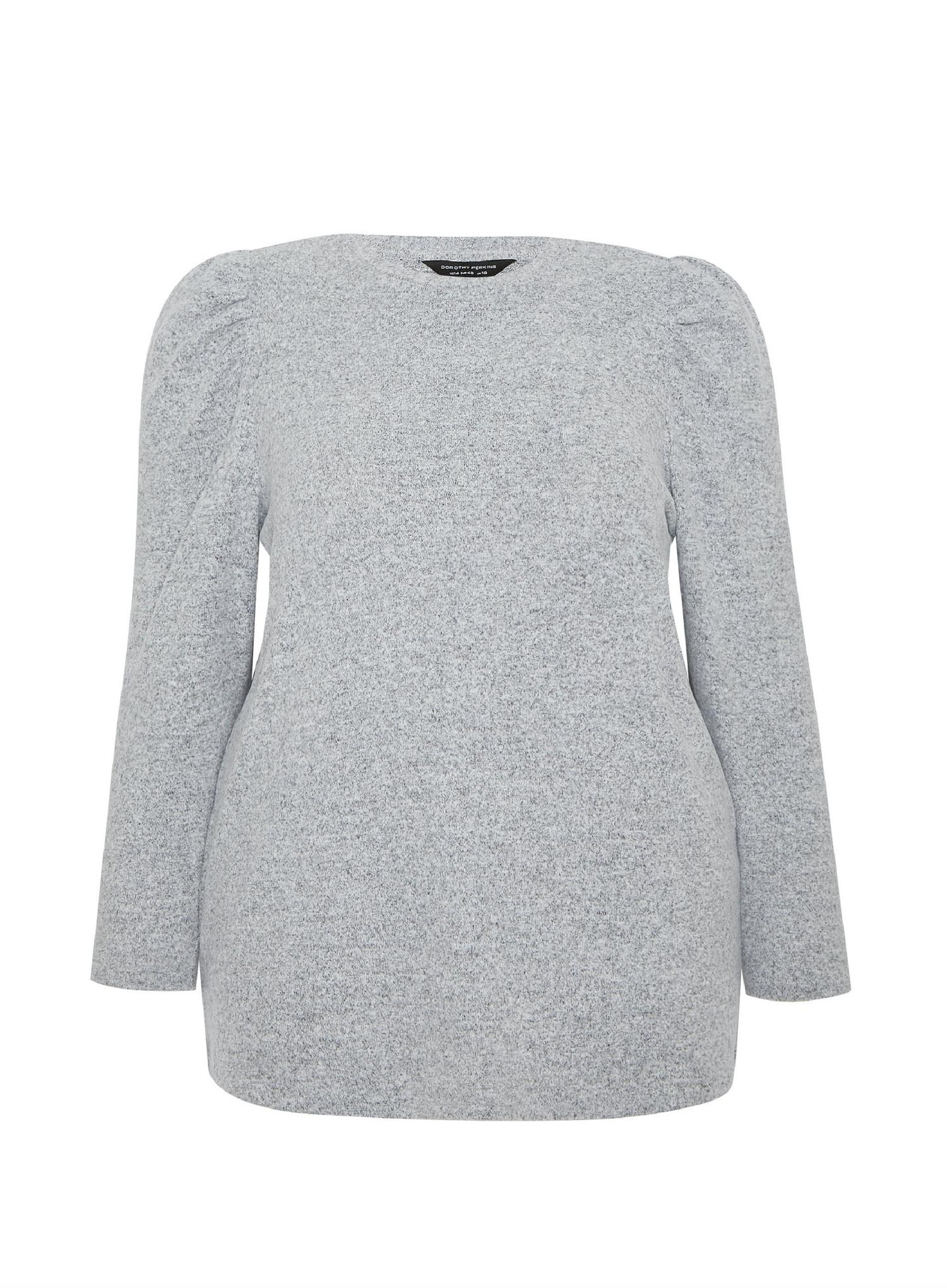 131 Curve Grey Brushed Puff Sleeve T-Shirt image number 4