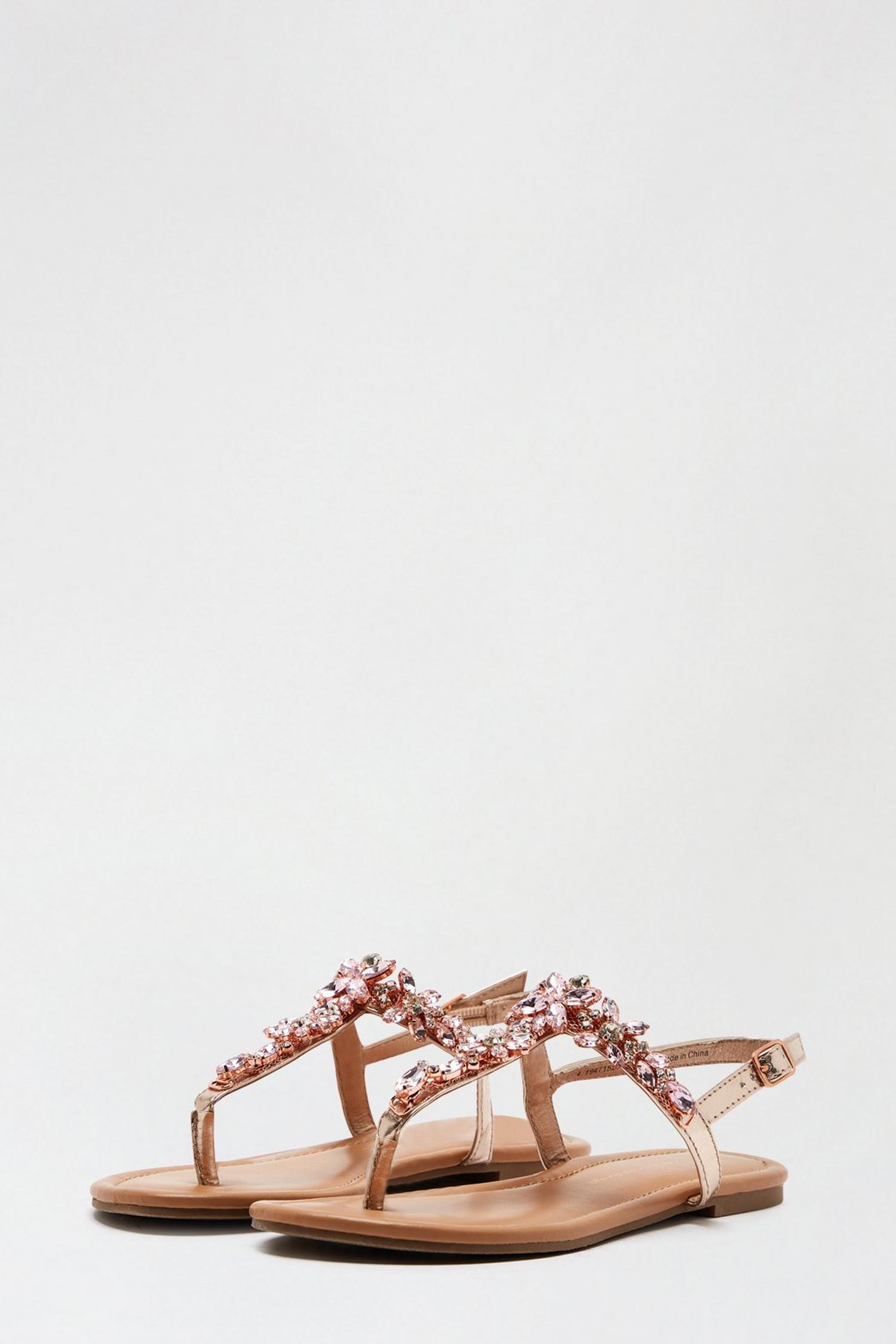 579 Rose Gold Flower Jewel Sandals image number 2