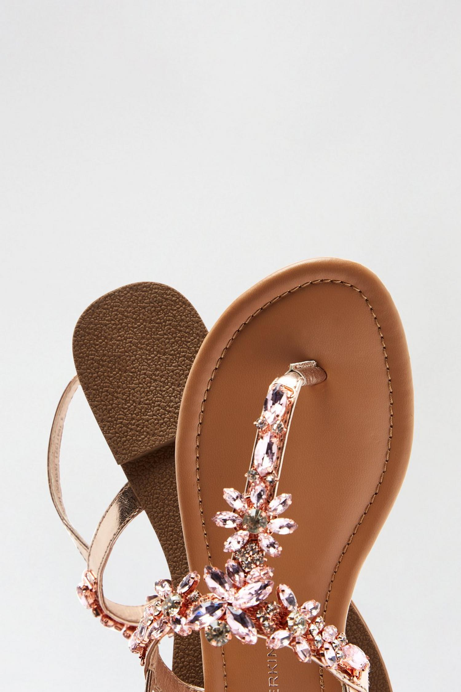 579 Rose Gold Flower Jewel Sandals image number 4