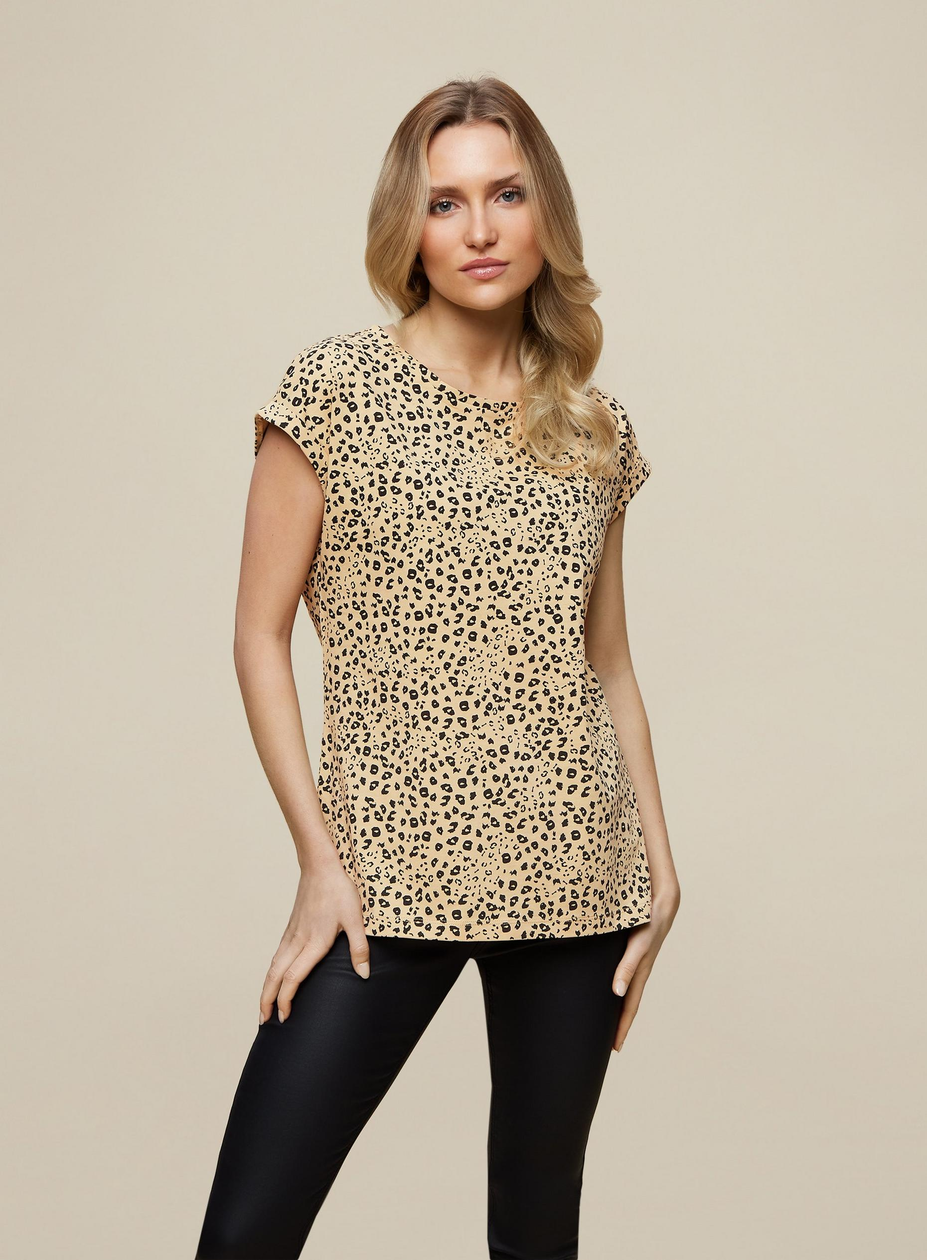 Organic Cotton Camel Print Roll Sleeve