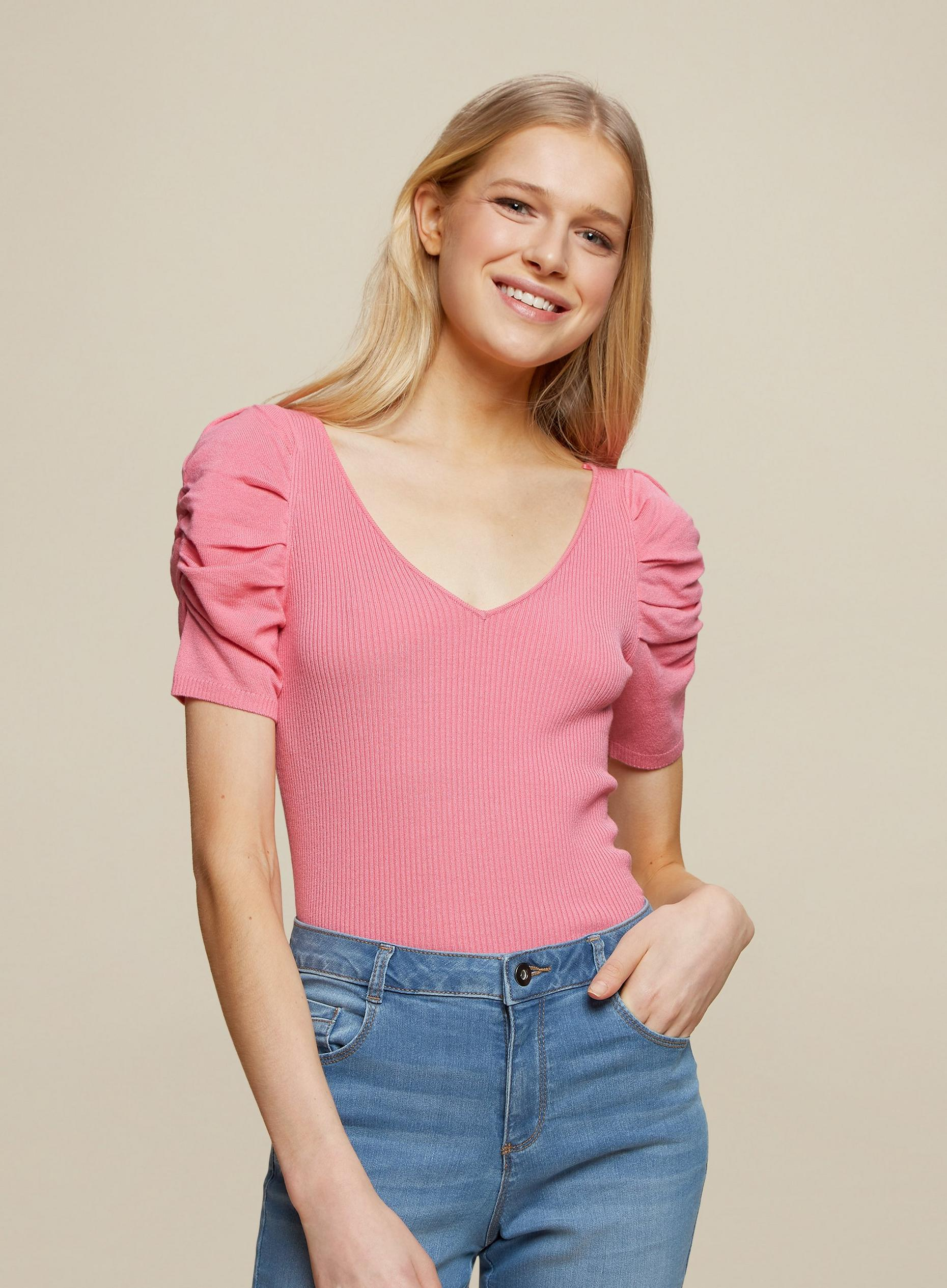 Pink Ruched Sleeve Top