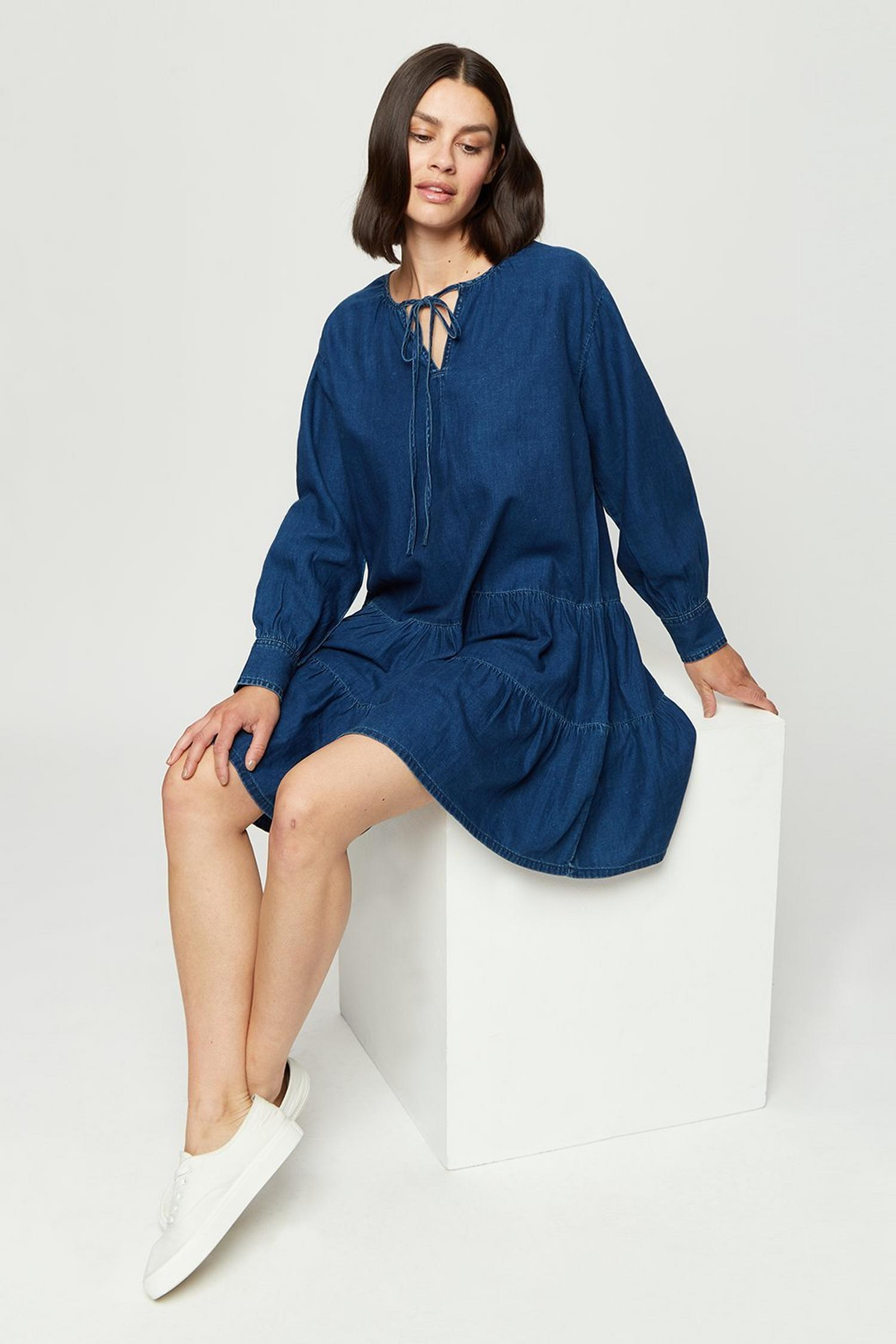 132 Indigo Smock Dress image number 1