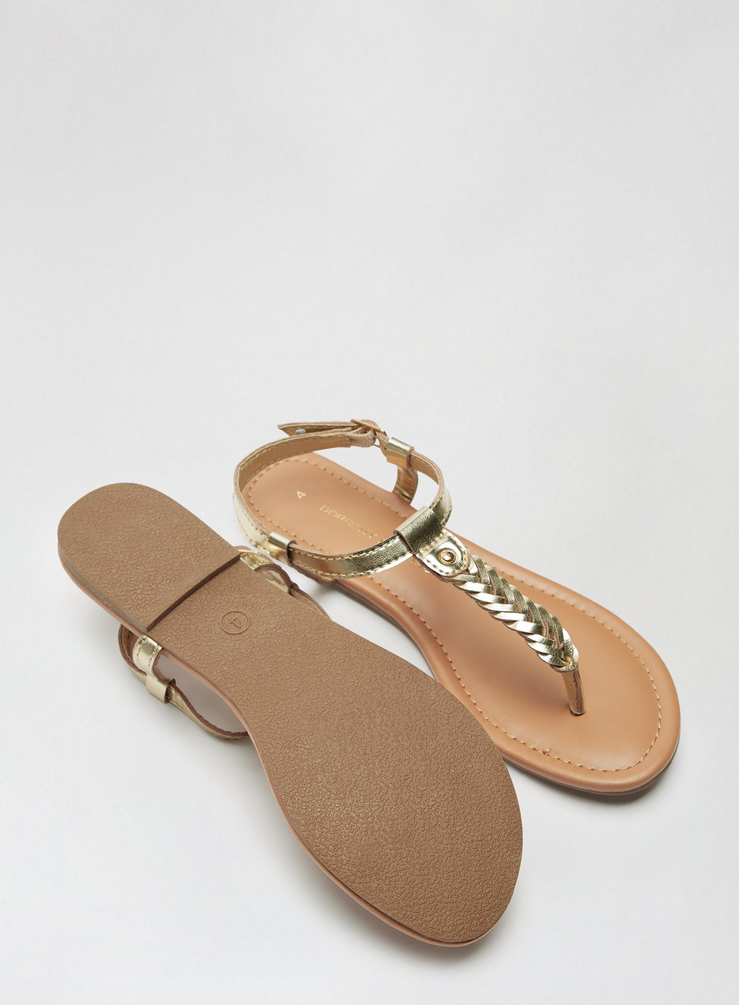 579 Wide Fit Gold Free Woven Sandals image number 3