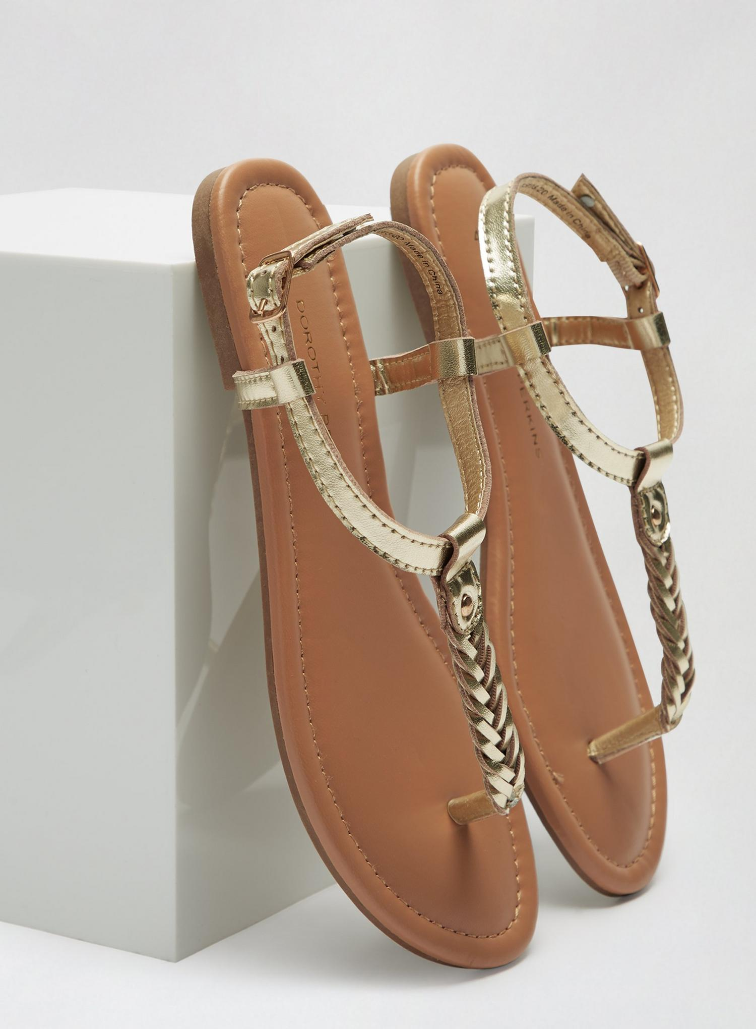 579 Wide Fit Gold Free Woven Sandals image number 4