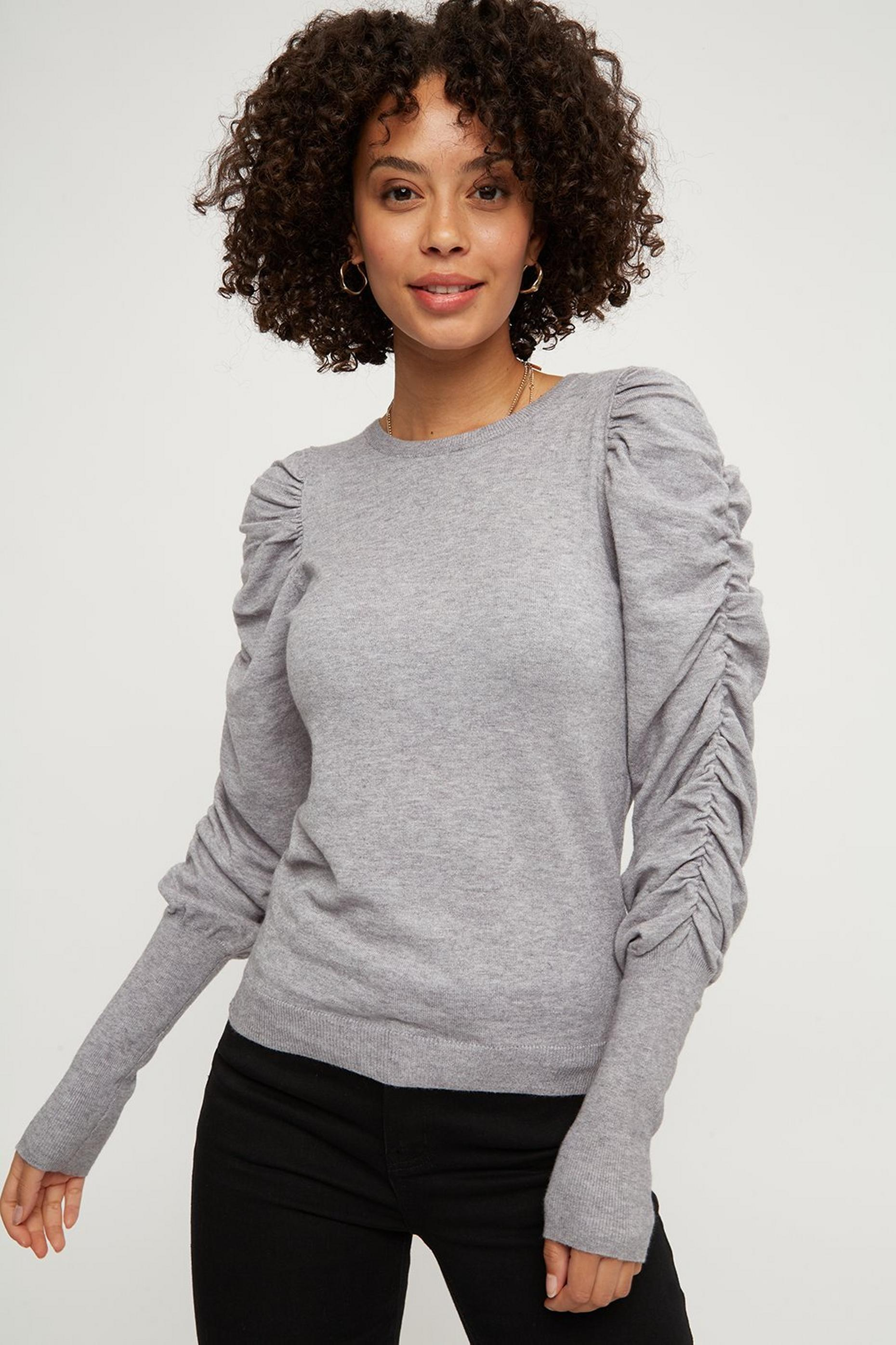 Grey Ruched Sleeve Jumper