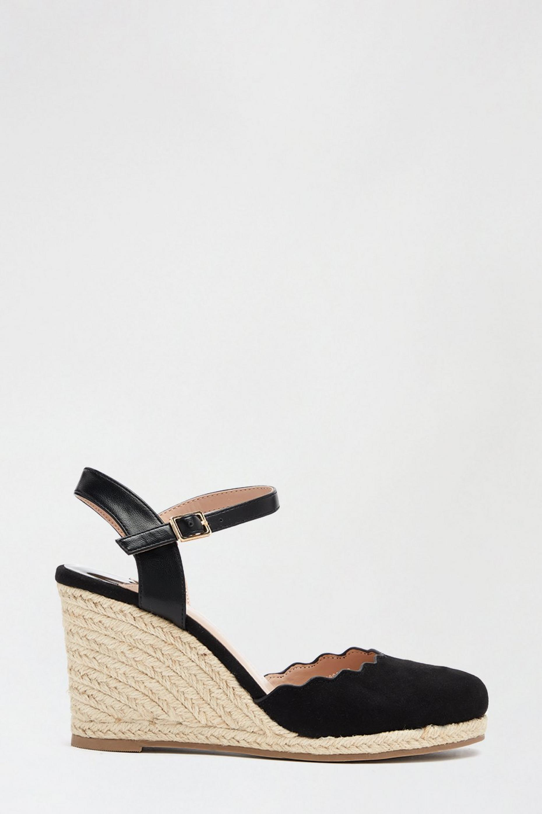 Wide Fit Black Drifter Wedge Sandal