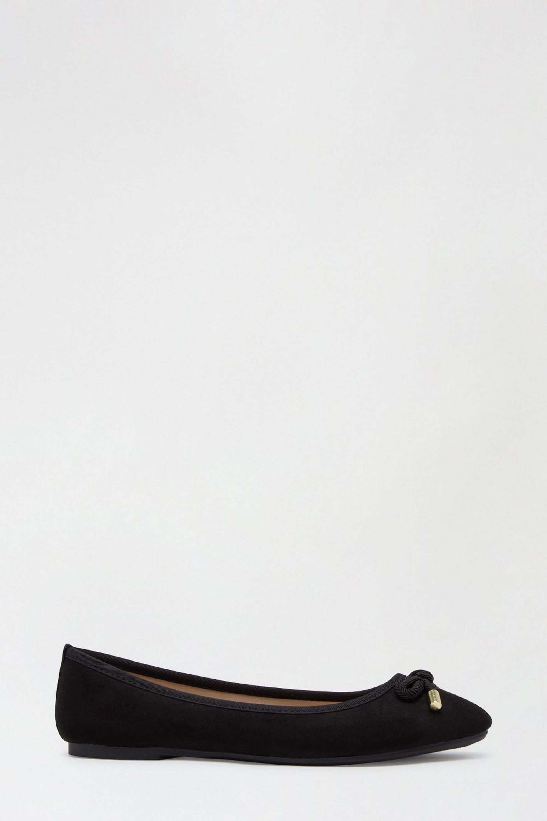 Wide Fit Eco Black Peach Ballerina Pumps