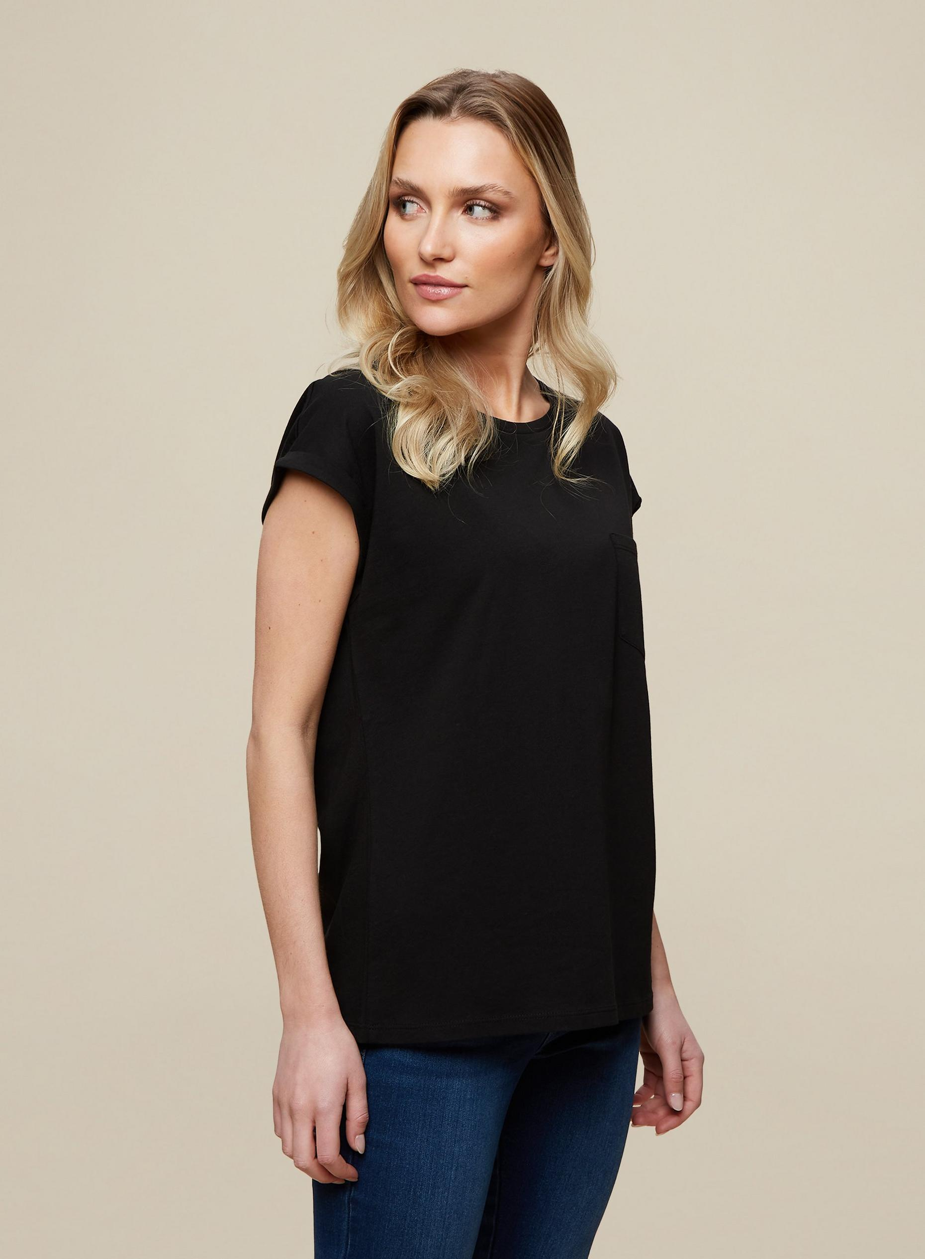 Organic Cotton Black Pocket Roll Sleeve Top