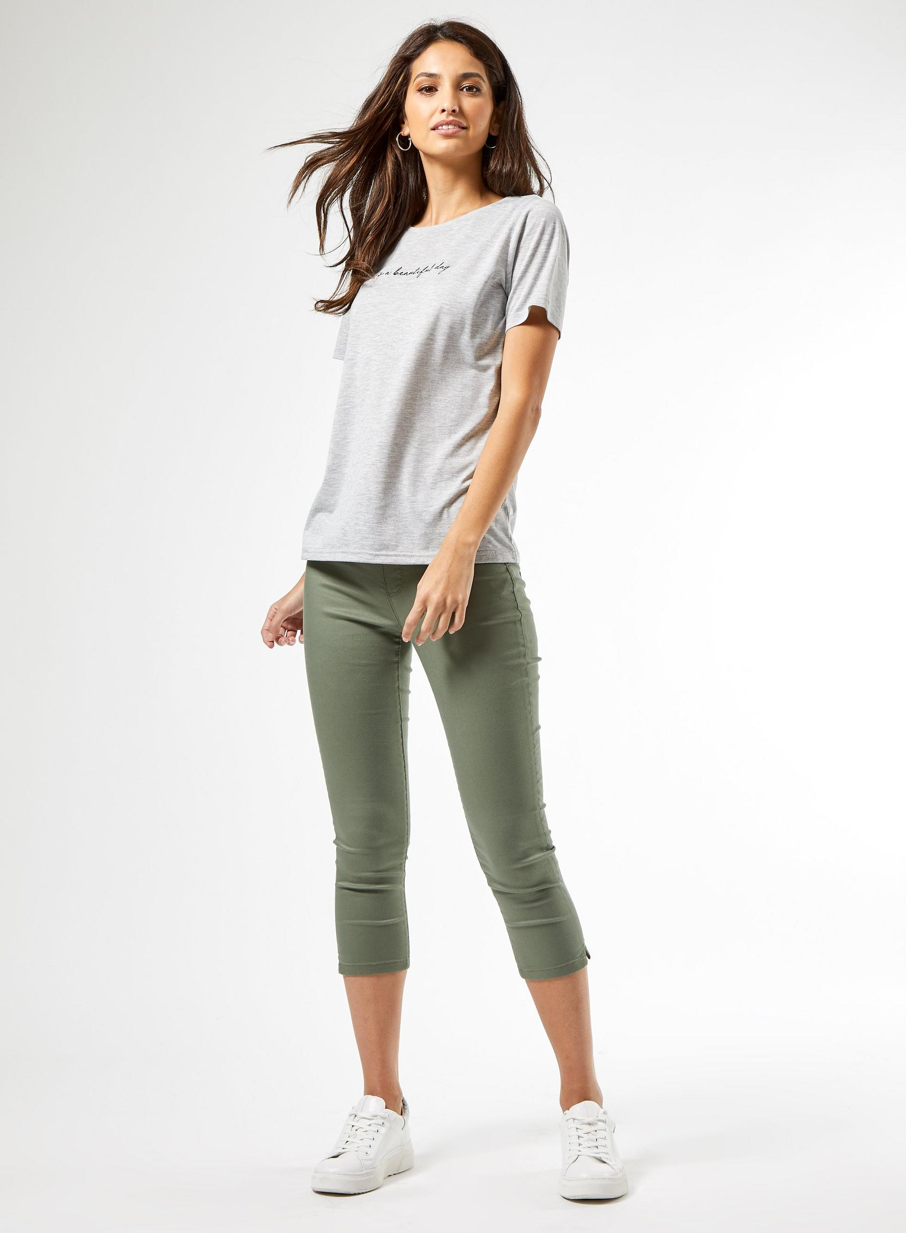 Khaki Eden Crop Jean With Organic Cotton