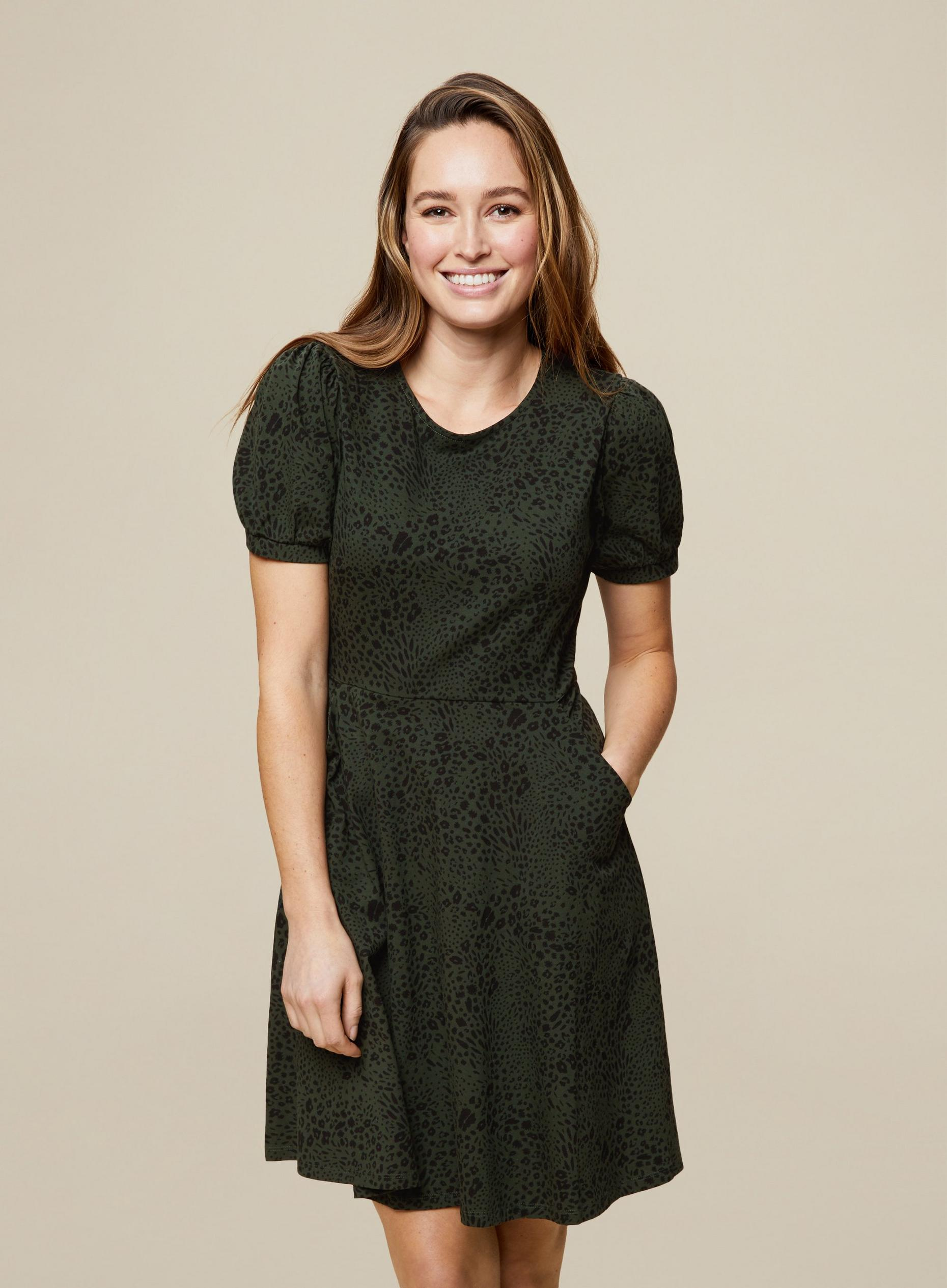 Green Leopard T-Shirt Dress