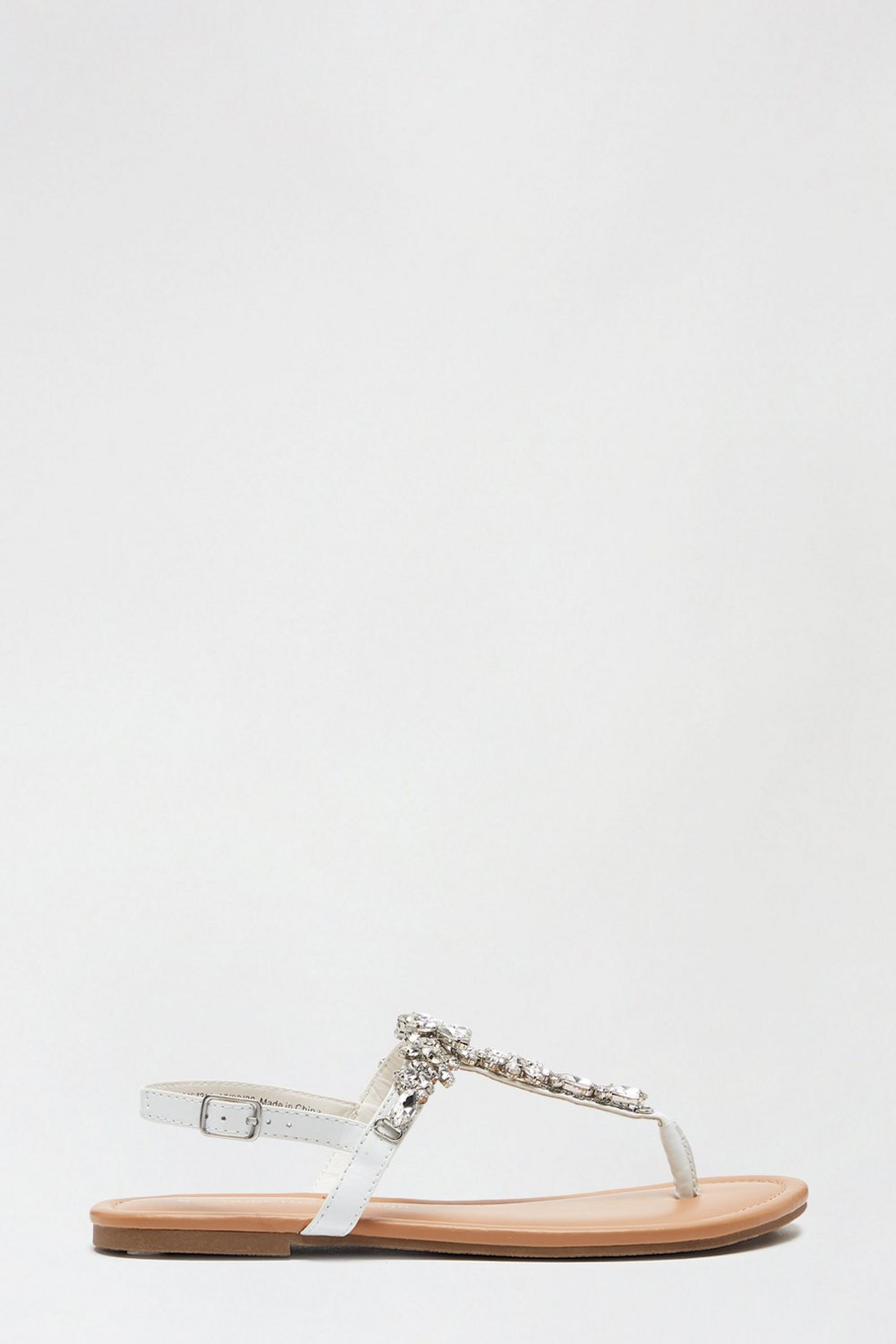 White Flower Jewel Sandals