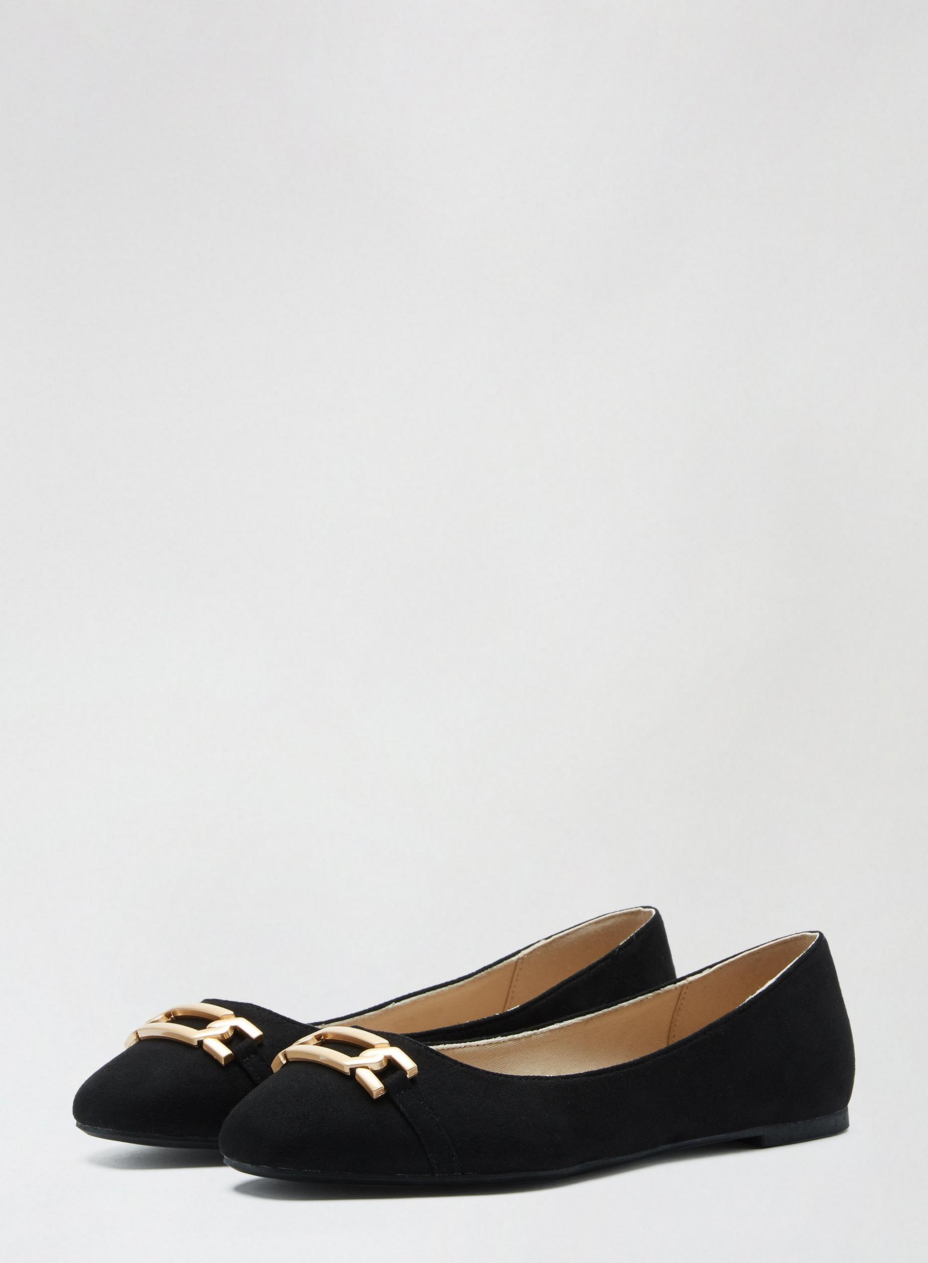 Wide Fit Black Pinch Pumps