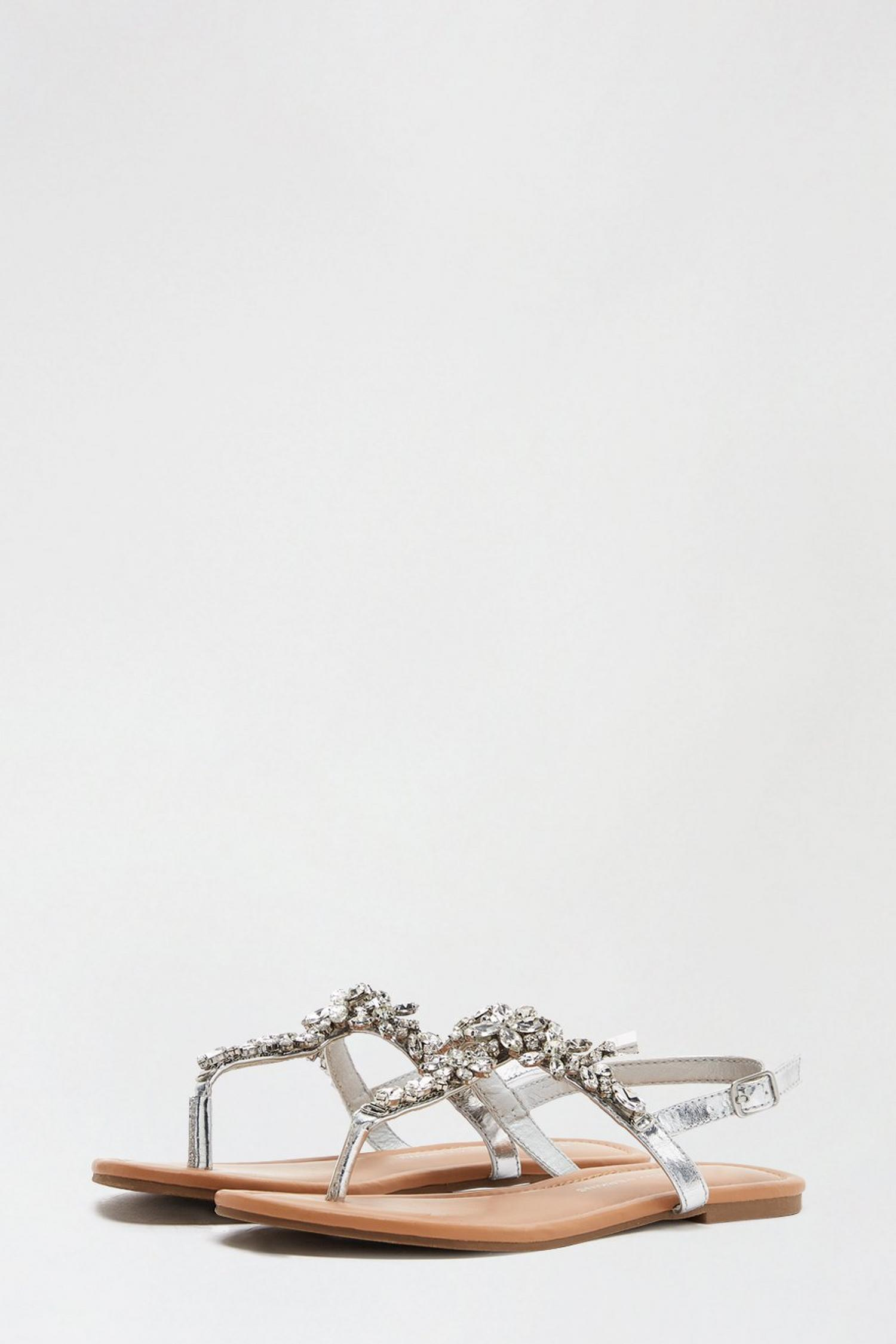 579 Silver Flower Jewel Sandals image number 2