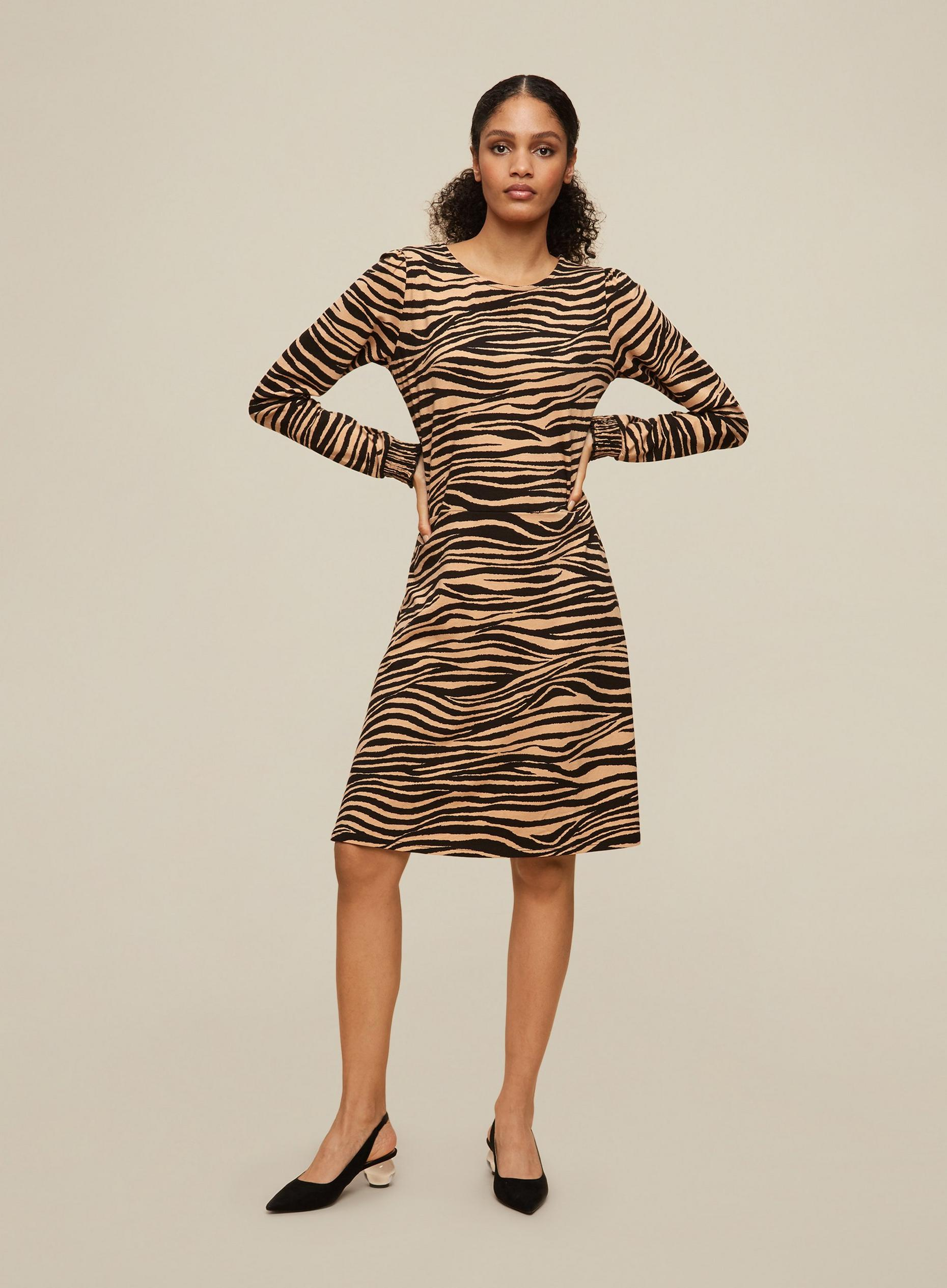 Tall Zebra Puff Sleeve Fit and Flare