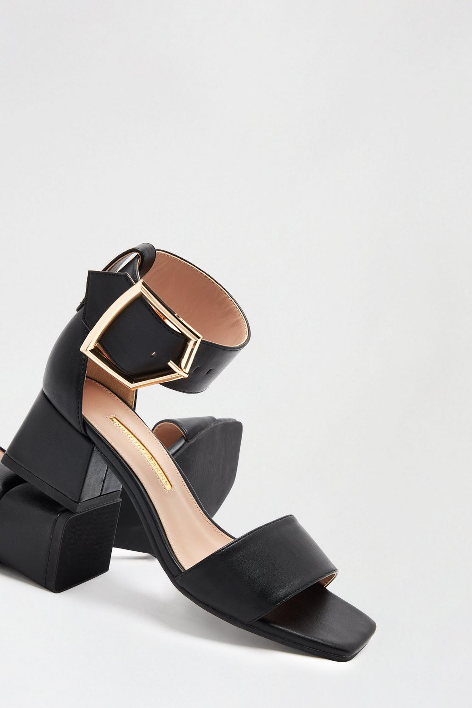 105 Black Saga Heeled Sandal image number 4