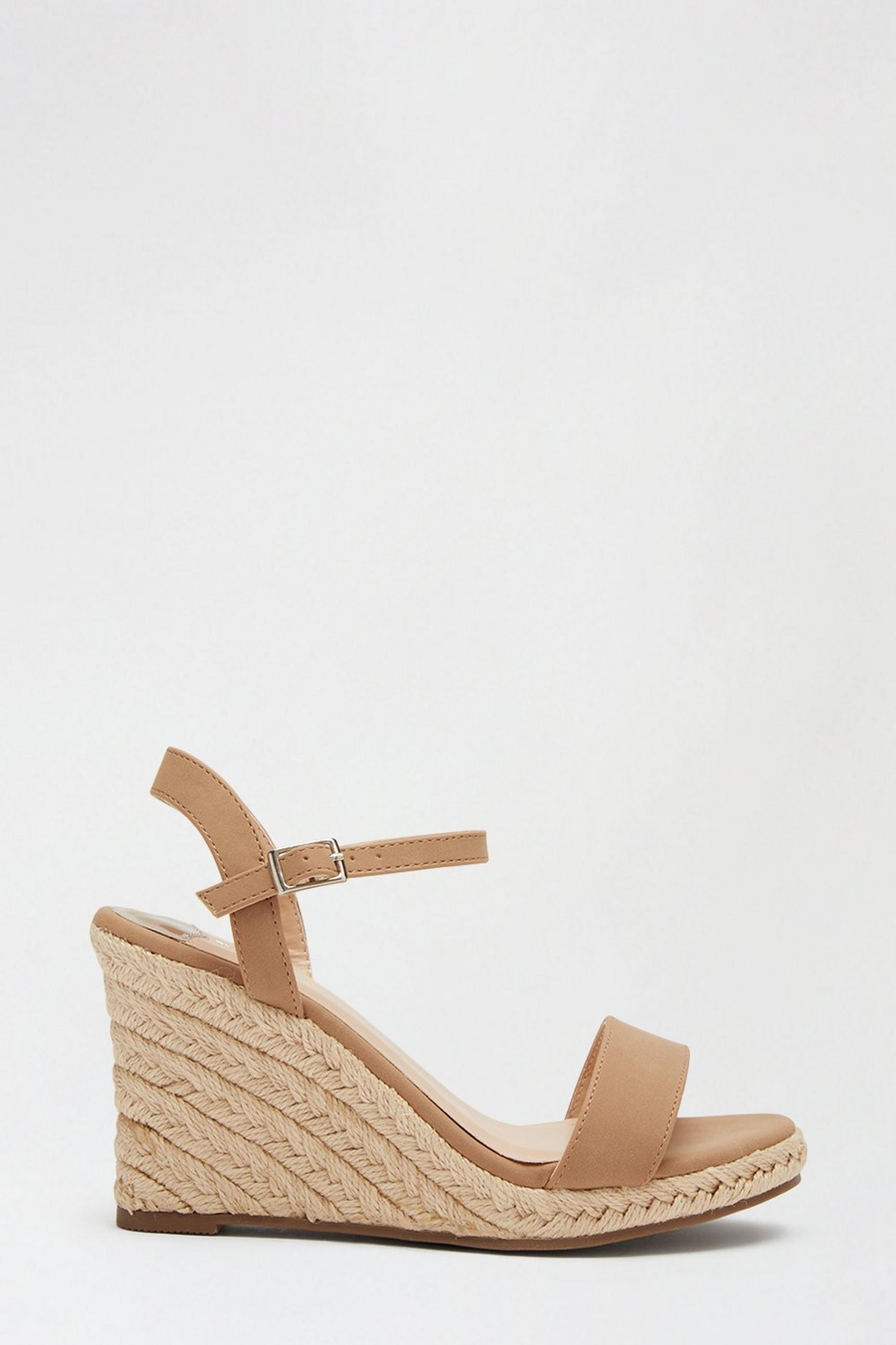 Wide Fit Taupe Ray Ray Espadrille Wedge