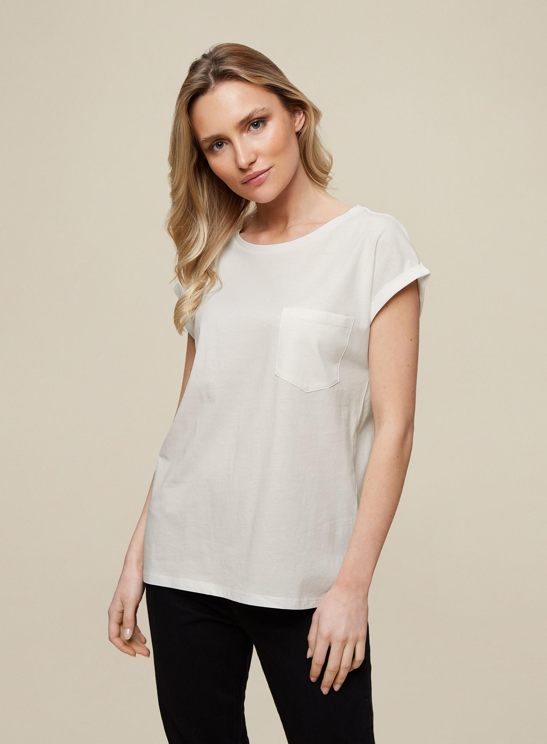 Organic Cotton White Pocket Roll Sleeve Tee