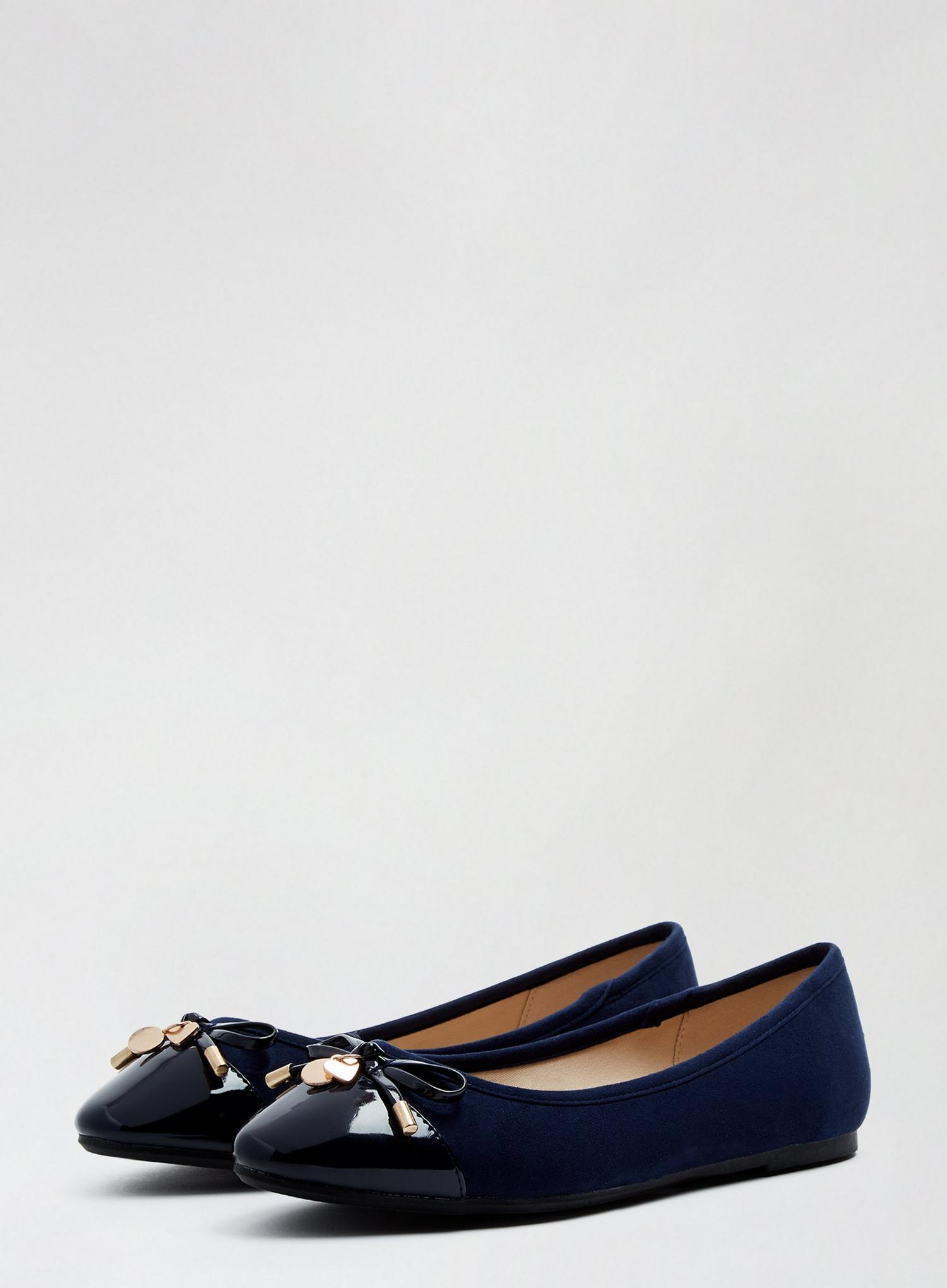 148 Wide Fit Navy Pacific Ballerina Pumps image number 1