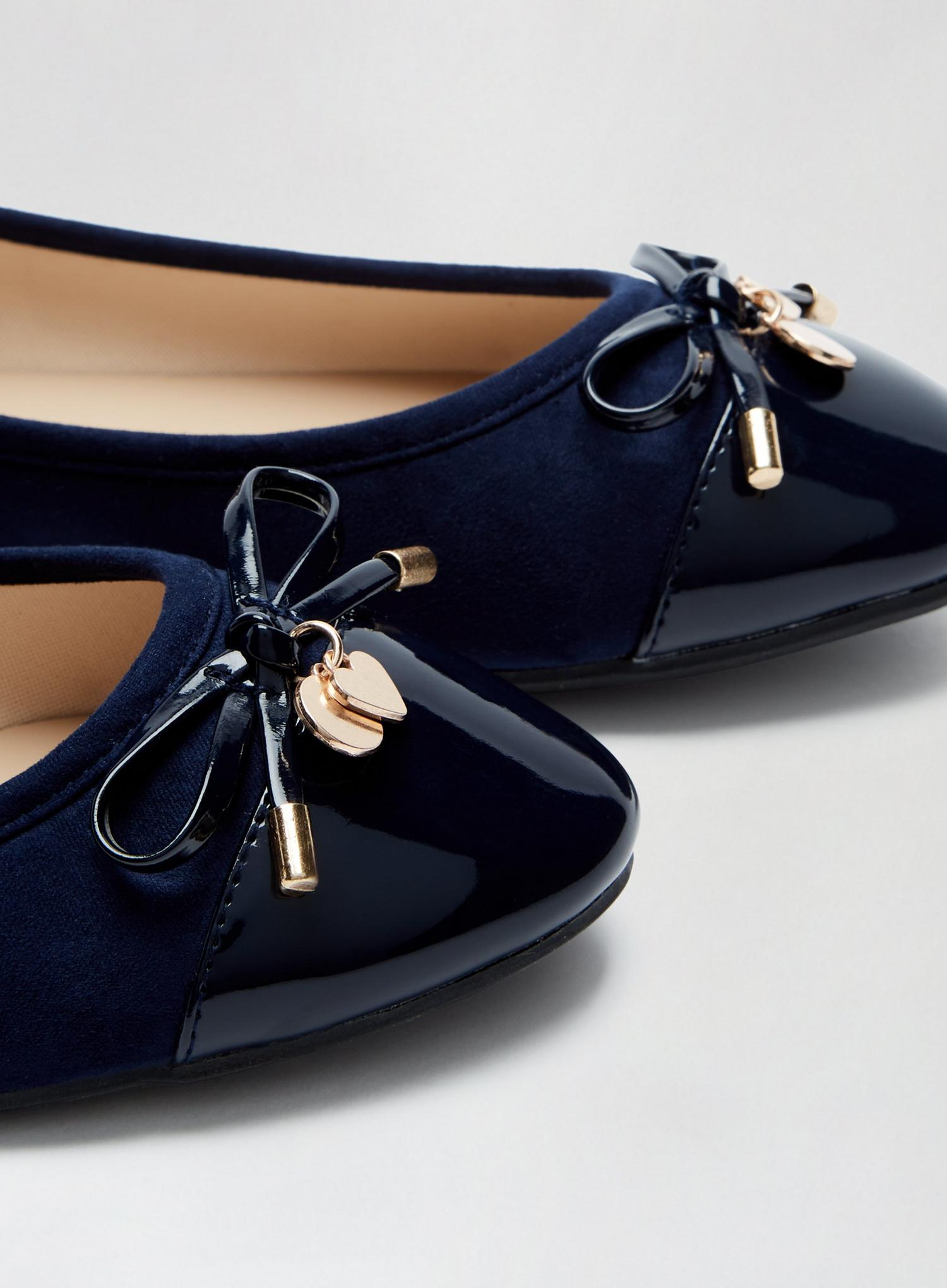 148 Wide Fit Navy Pacific Ballerina Pumps image number 3