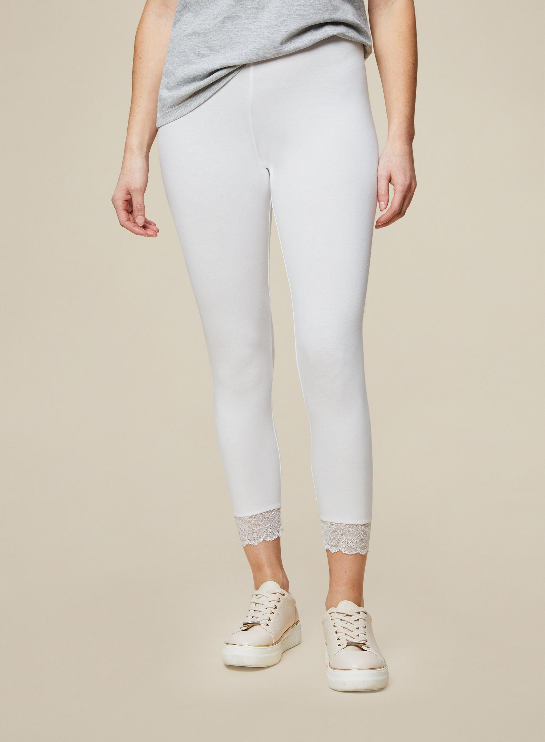 Organic White Lace Trim Cropped Legging