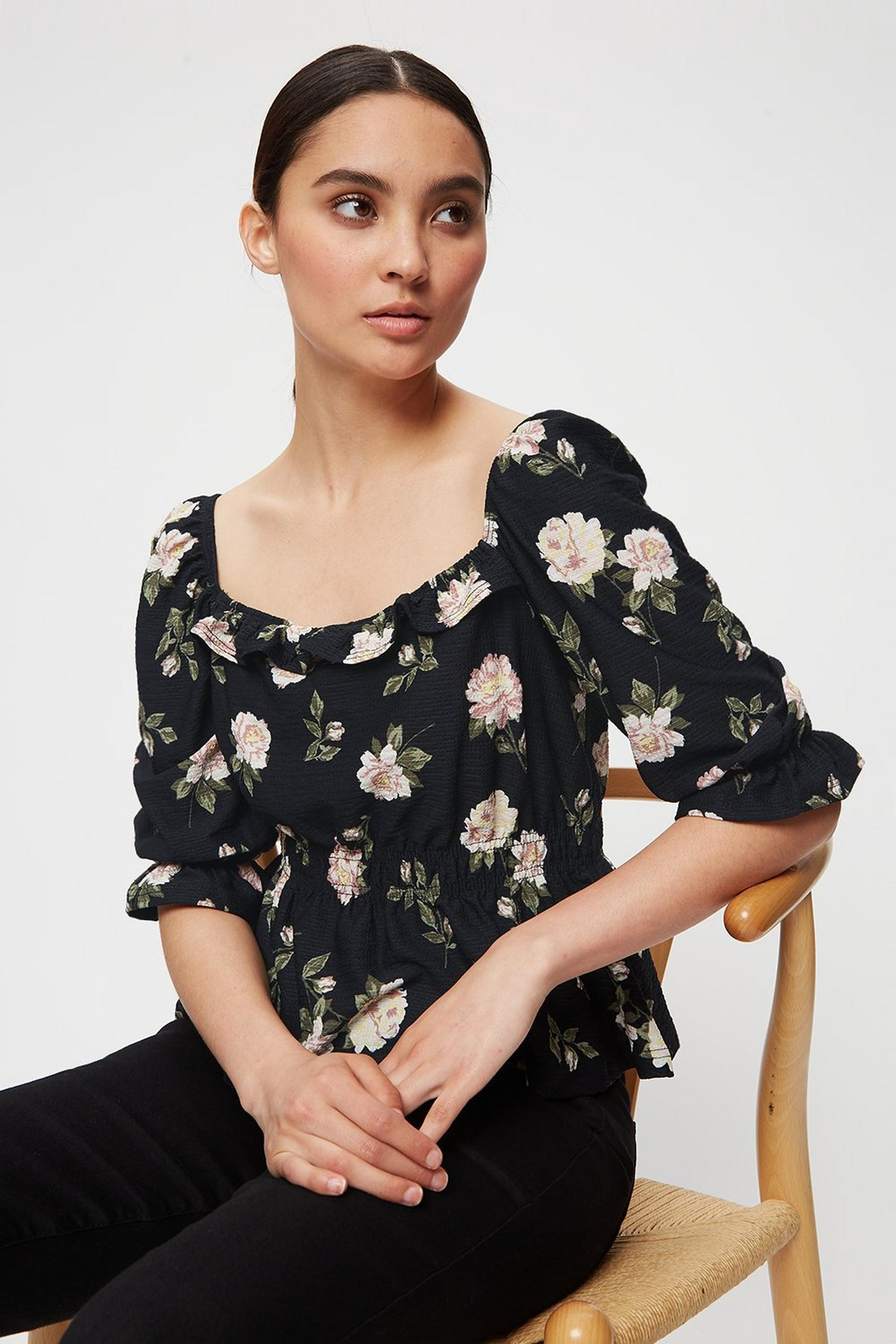 Petite Floral Square Neck Textured Top