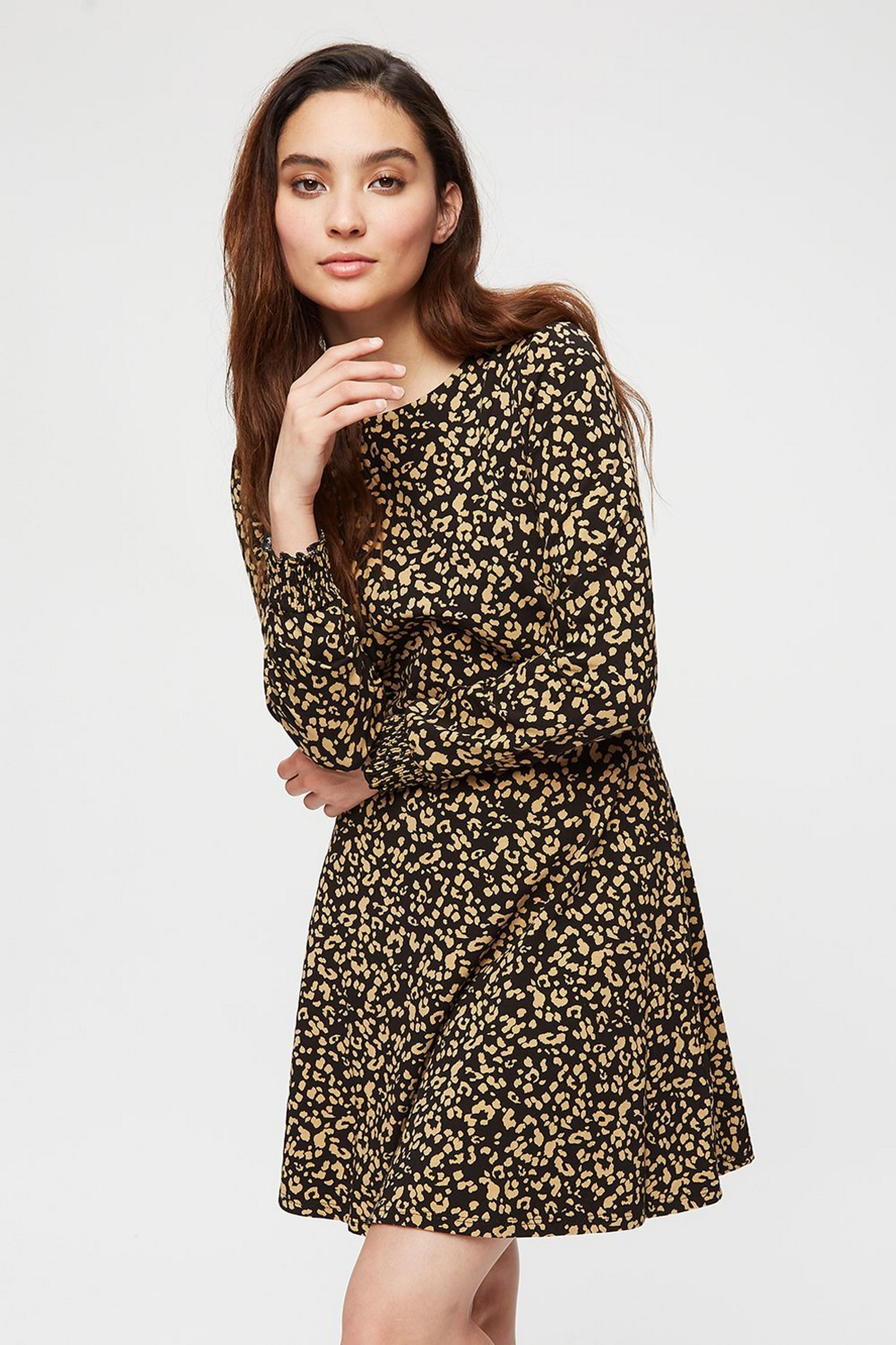 Petite Animal Print Fit and Flare Dress