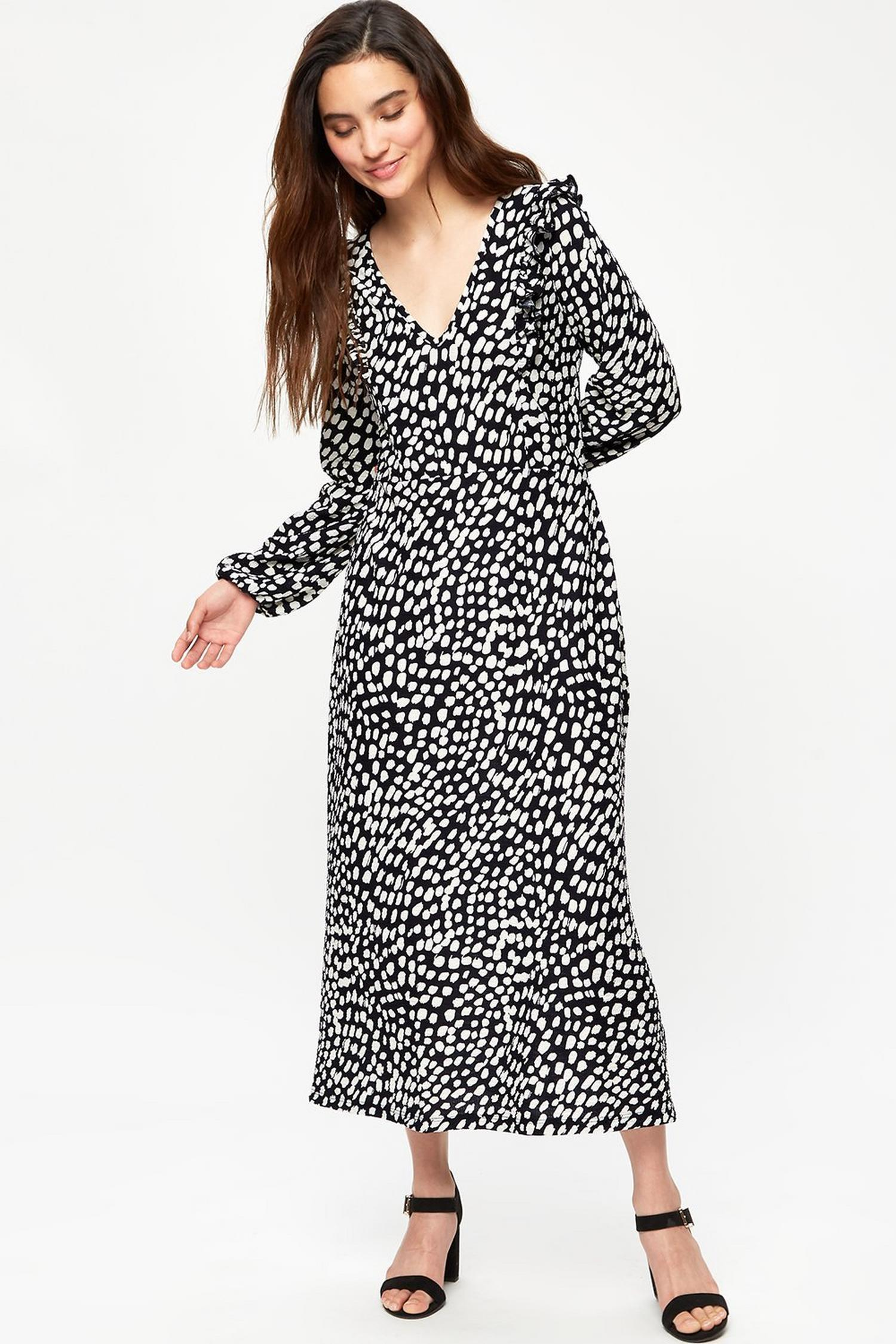 105 Petite Black And White Spot Midi Dress image number 1