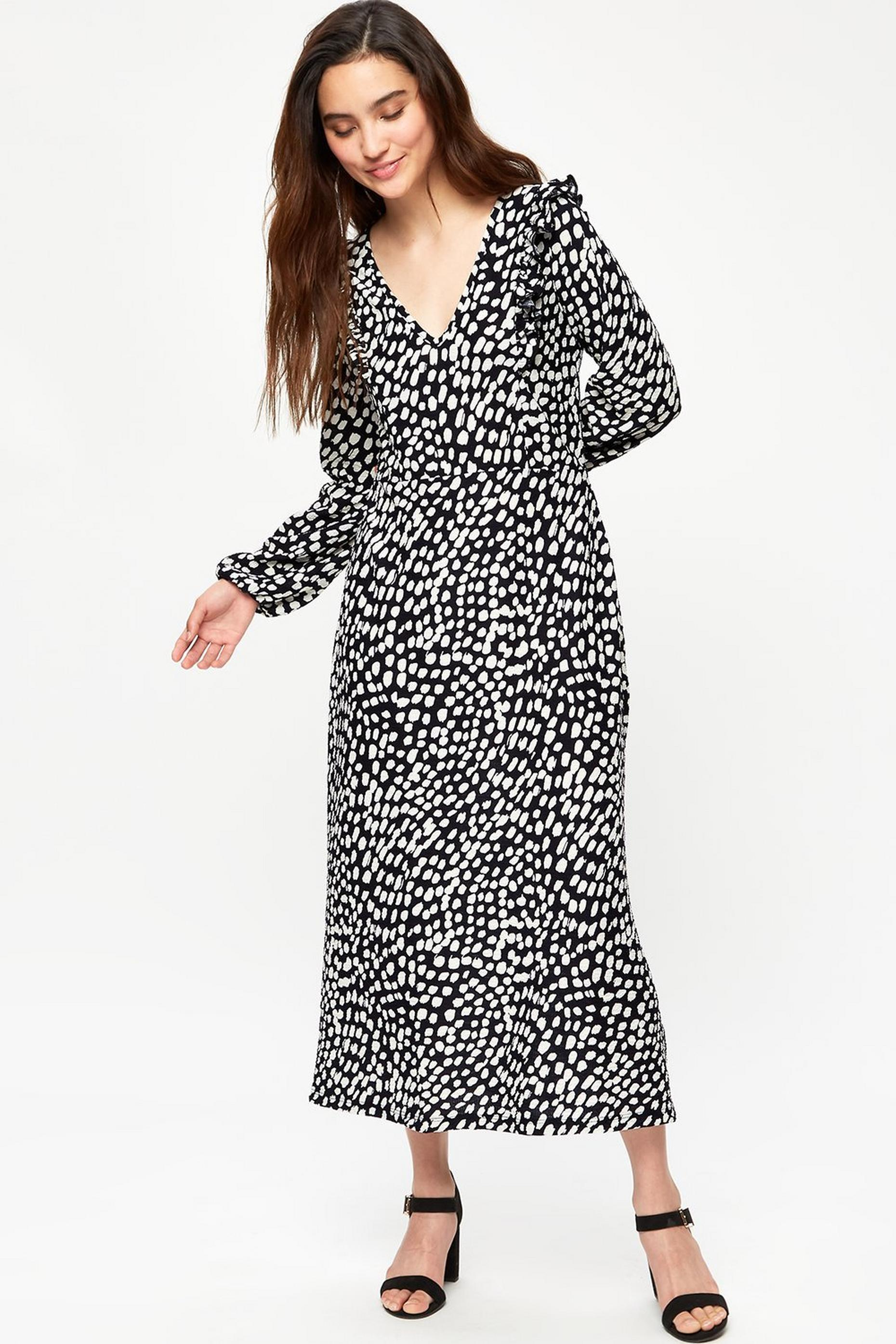 Petite Black And White Spot Midi Dress