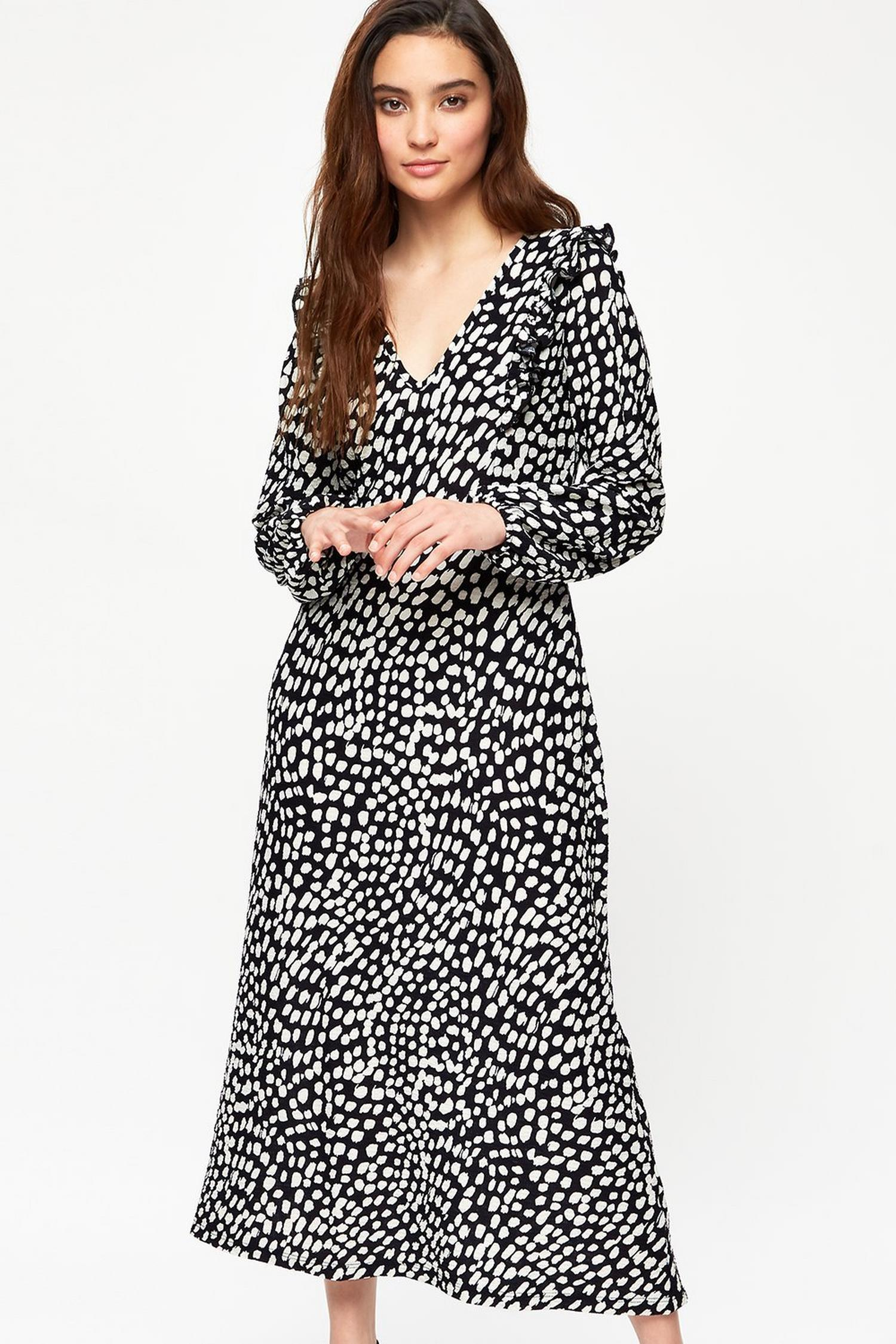 105 Petite Black And White Spot Midi Dress image number 2