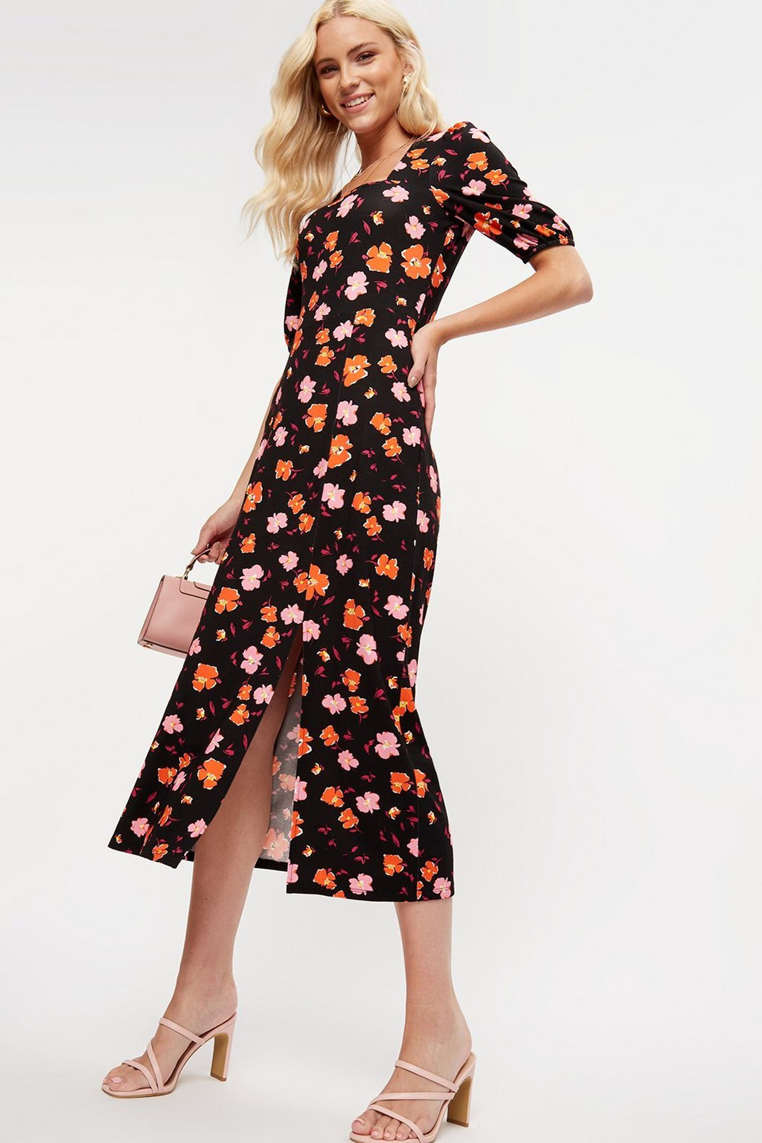 155 Pink And Red Floral Square Neck Midi Dress image number 0